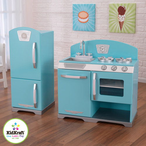 Kidkraft Wooden Play Kitchen kidkraft blue retro wooden play kitchen and refrigerator | ebay