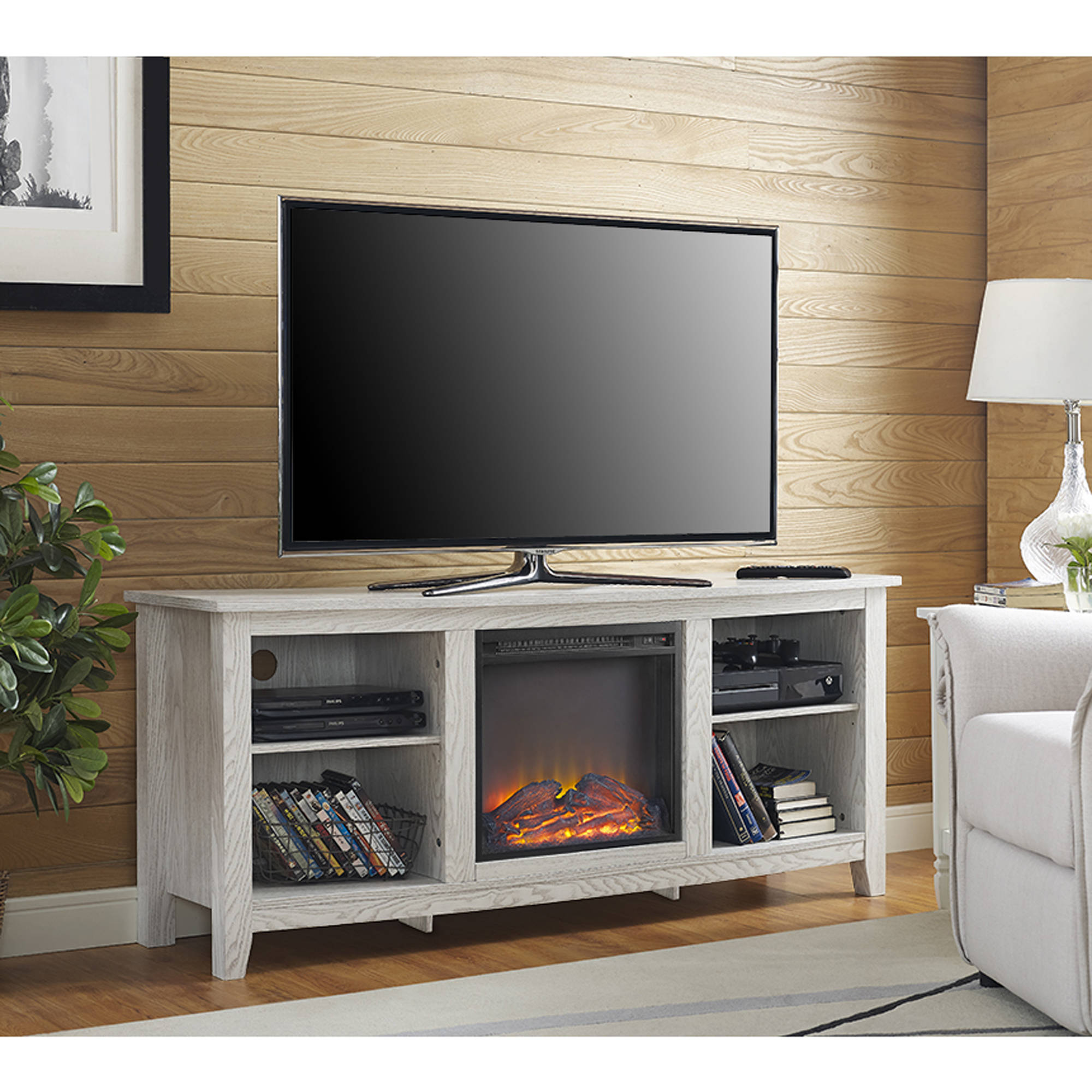 tv cheap fireplace wood ebay up tvs for stand whitewash electric to itm