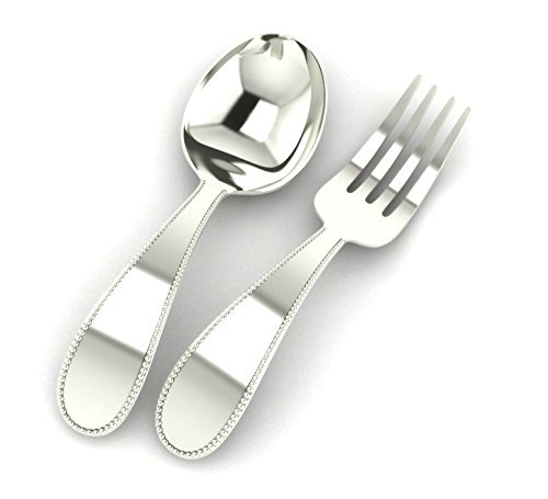 krysaliis beaded sterling baby spoon and fork set silver