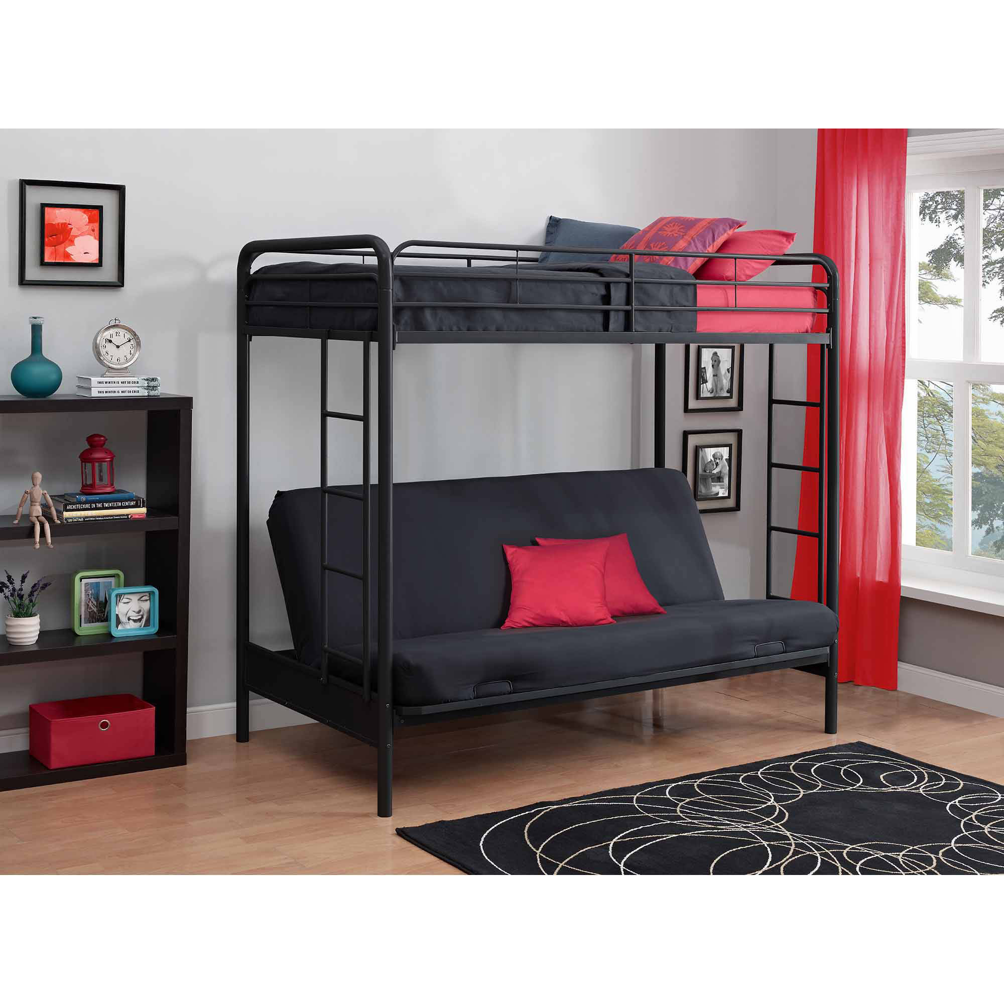 Image Is Loading Dhp Twin Over Futon Metal Bunk Bed Multiple