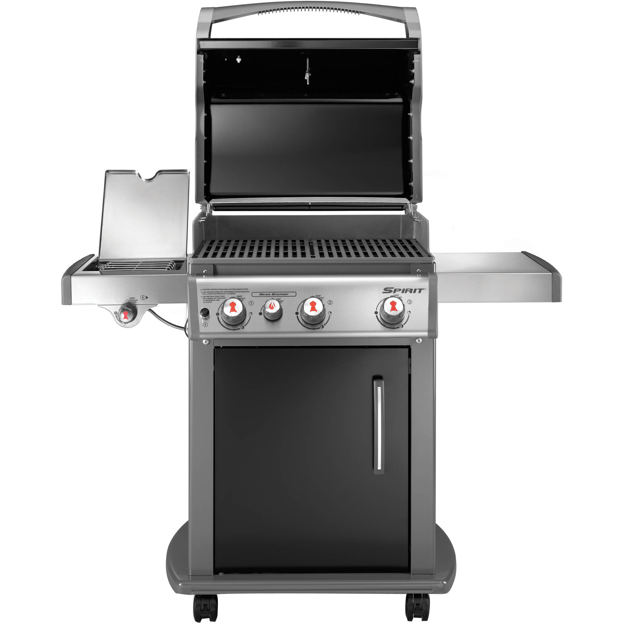 Lp gas propane grill black stainless steel outdoor