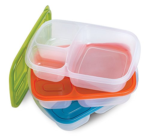 3 piece bento box lunch box set bpa free food grade multi for Decor 6 piece lunchbox