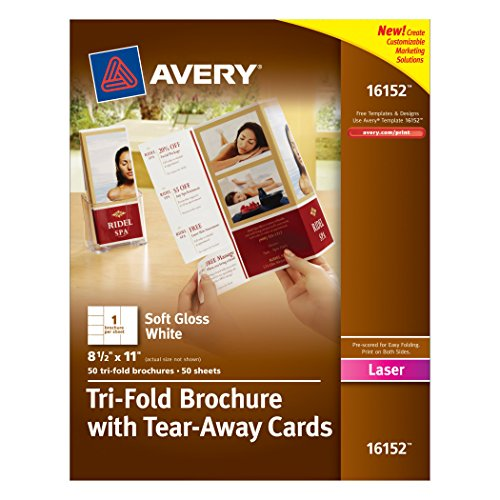 Avery tri fold brochure with tear away cards 50 for Avery tri fold brochure template