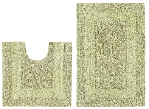 2 Piece Reversible Bath Rug Set Race Track Sage By Cotton Craft