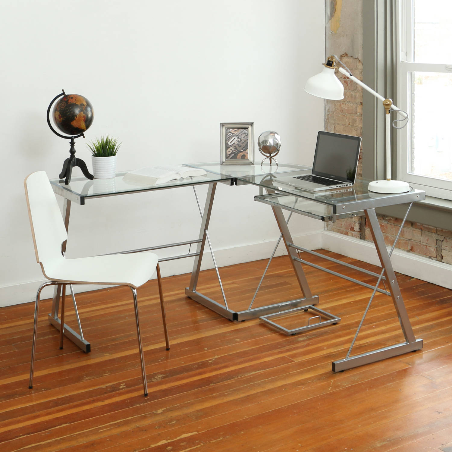 cool with black glass top puter desk