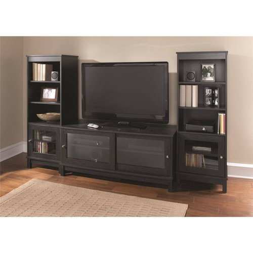 Mainstays 55 Quot Tv Stand With Sliding Glass Doors Black