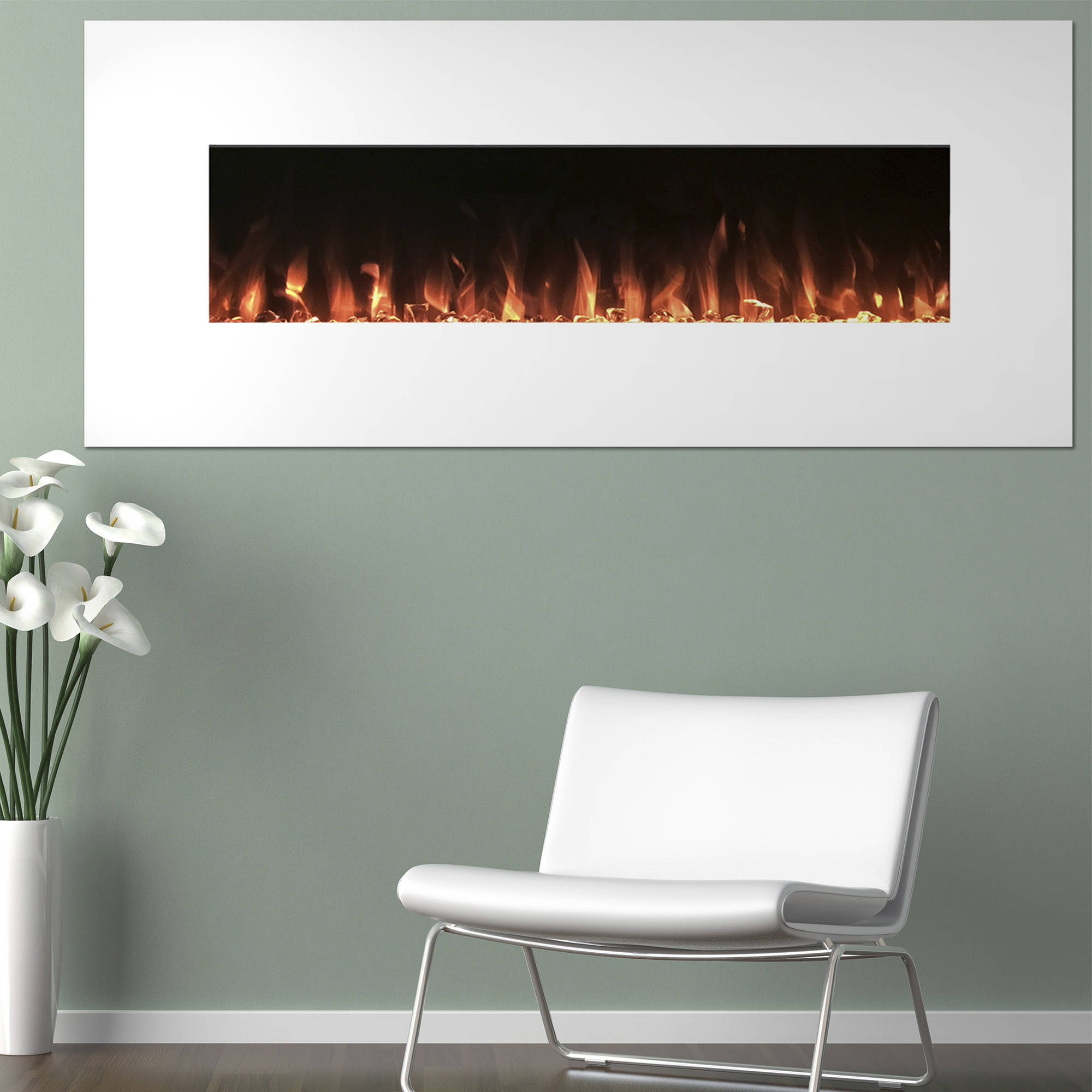 electric fireplace wall mounted color changing led flame and  - img