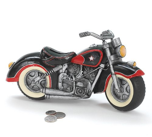 Black red motorcycle shaped piggy bank home decor for Motorcycle decorations home