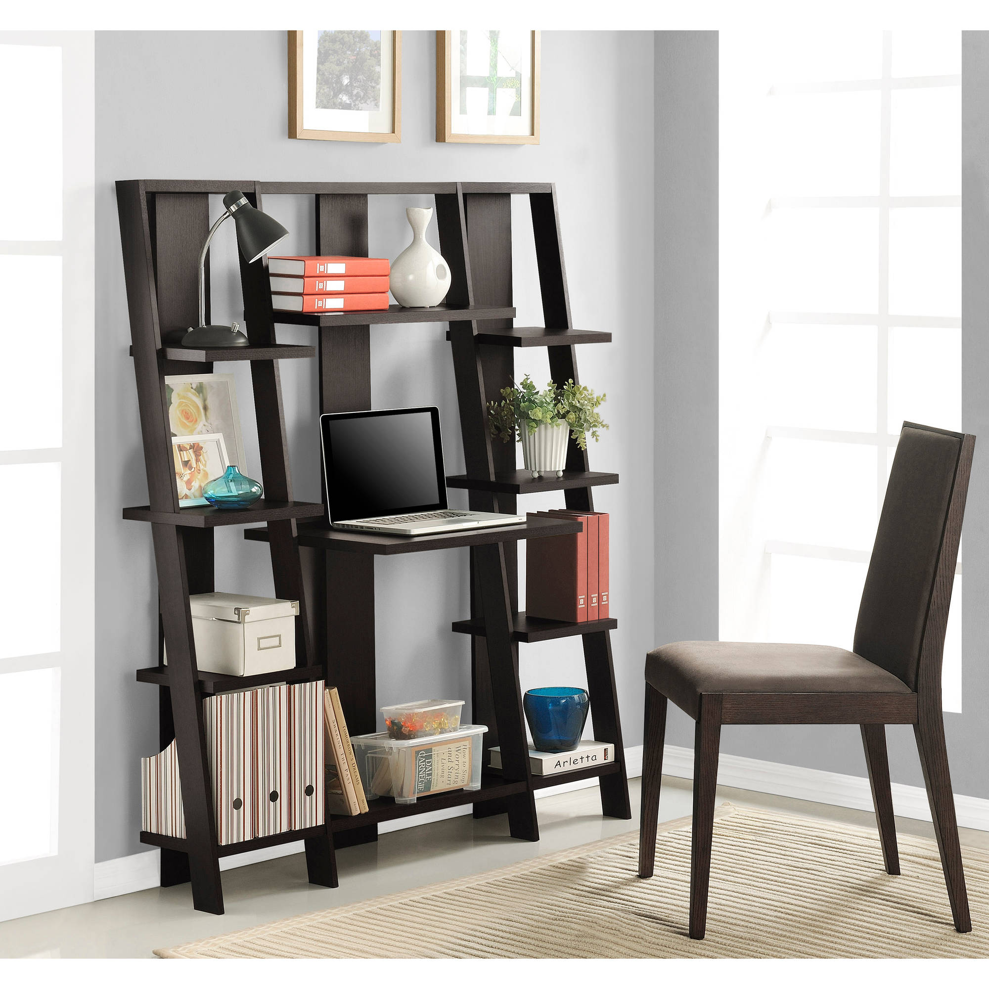 shelf wood best itm home bookcase choice leaning table furniture bookcases desk with office computer products