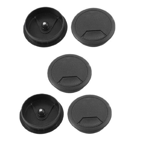 office pc desk cable cord organizer grommet hole plastic cover 5p. Black Bedroom Furniture Sets. Home Design Ideas