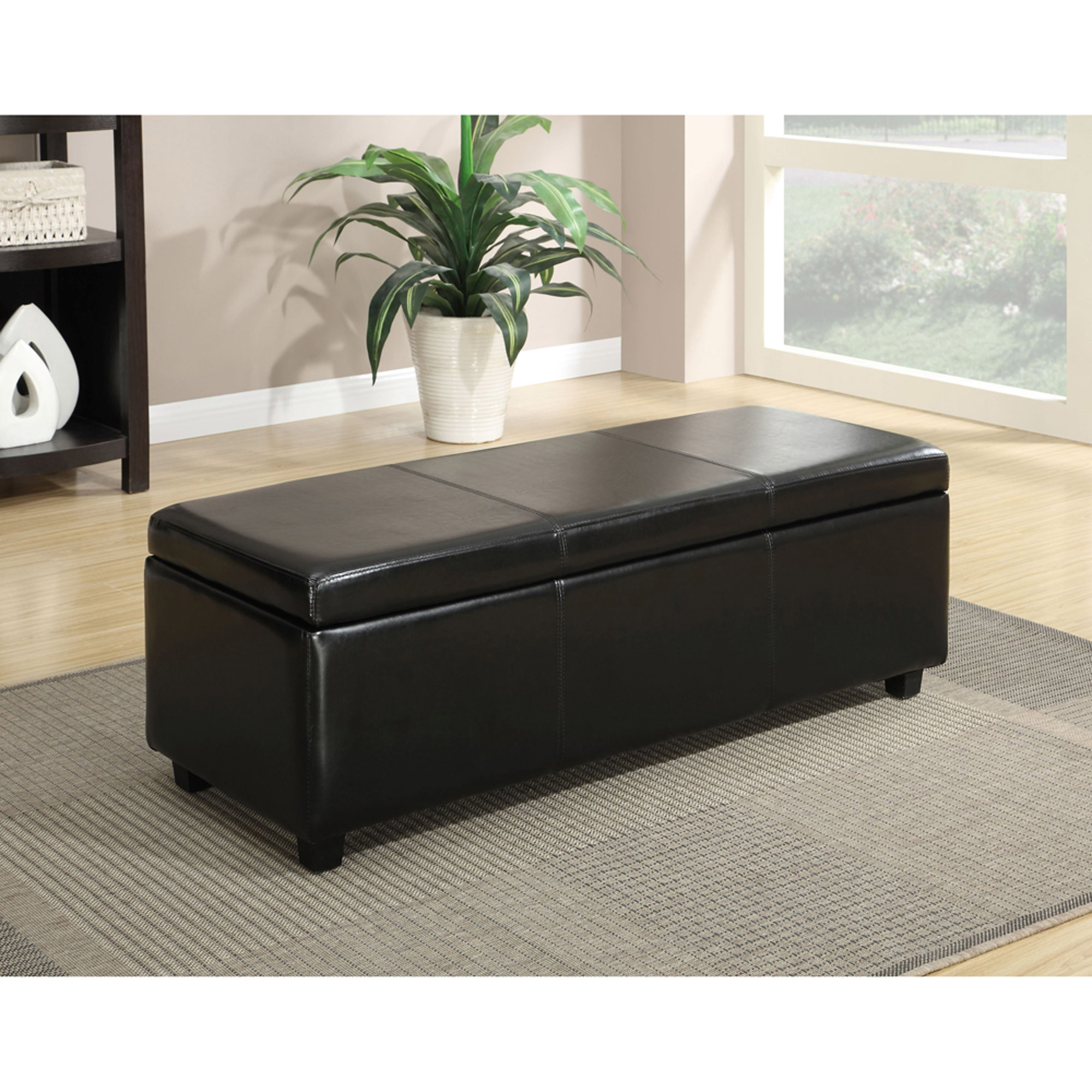 Beautiful Simpli Home Avalon Rectangular Faux Leather Storage Ottoman