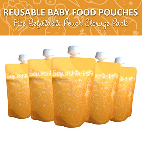 Squish Delish Recipes : Squish Delish 5 x Large Reusable Baby Food Pouches with TOP Spout