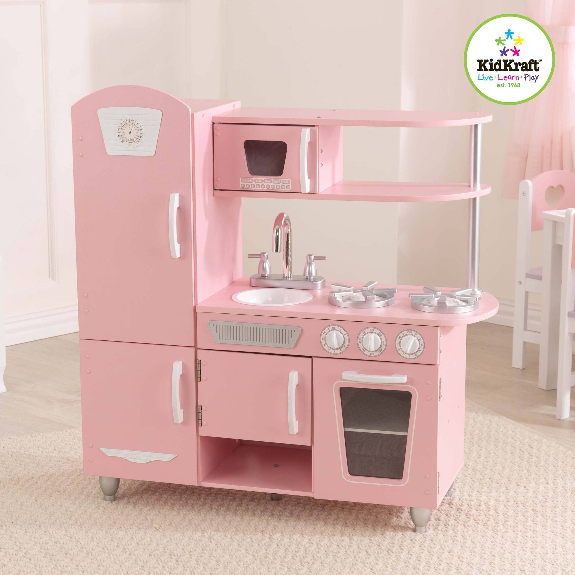 Kidkraft Wooden Play Kitchen kidkraft vintage wooden play kitchen, pink | ebay