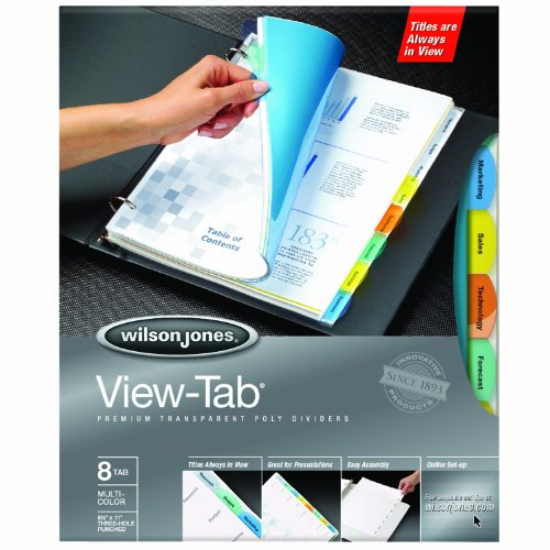 Wilson jones view tab transparent dividers 8 tab set for Templates wilson jones 8 tabs