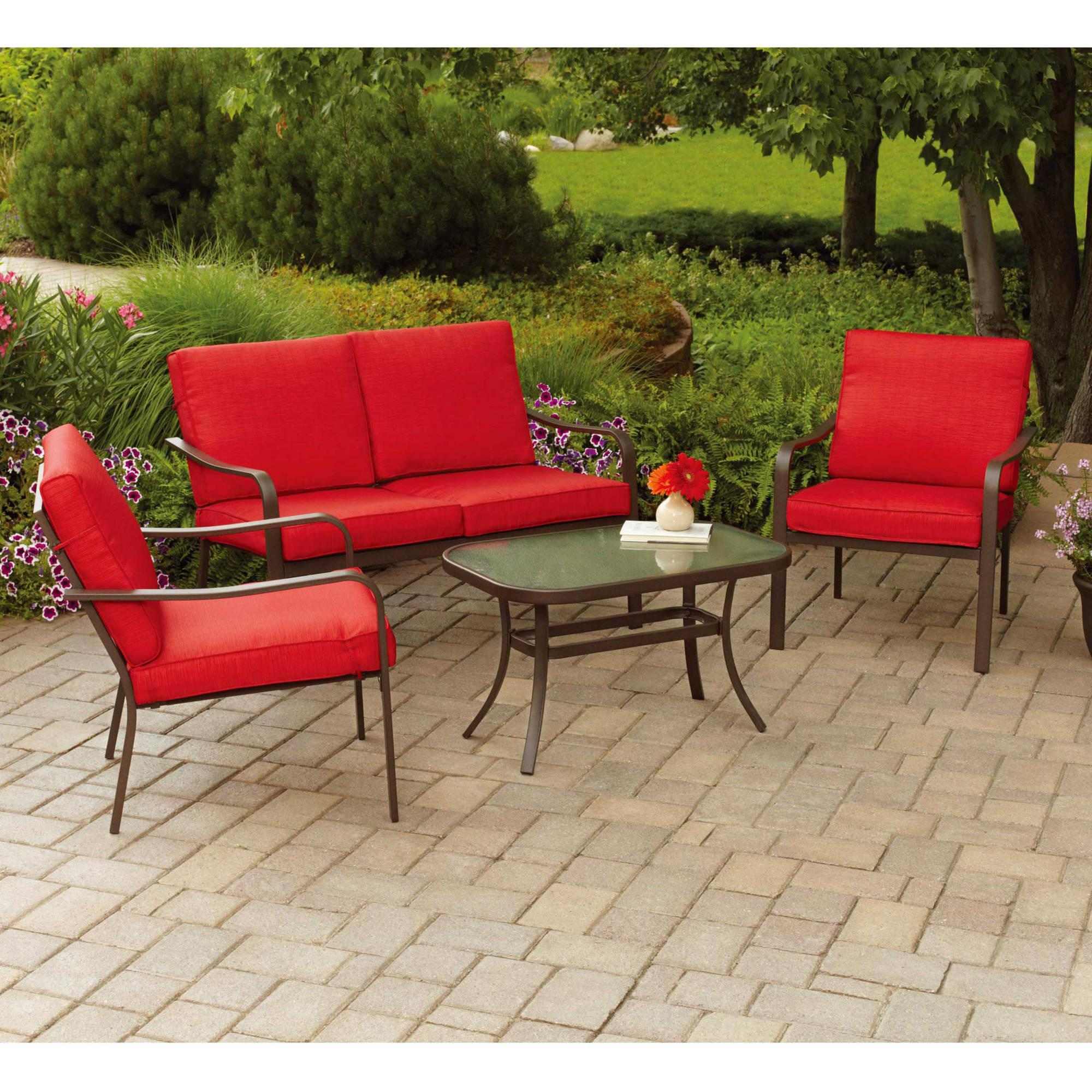 mainstays stanton cushioned piece patio conversation set seats  - sus