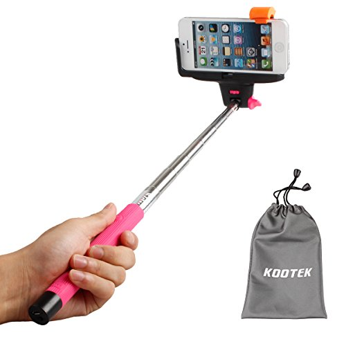 kootek selfie stick with remote button bluetooth monopod cam. Black Bedroom Furniture Sets. Home Design Ideas