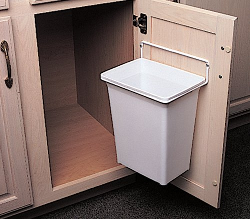 Door mounted kitchen garbage can for Can you use kitchen cabinets in bathrooms
