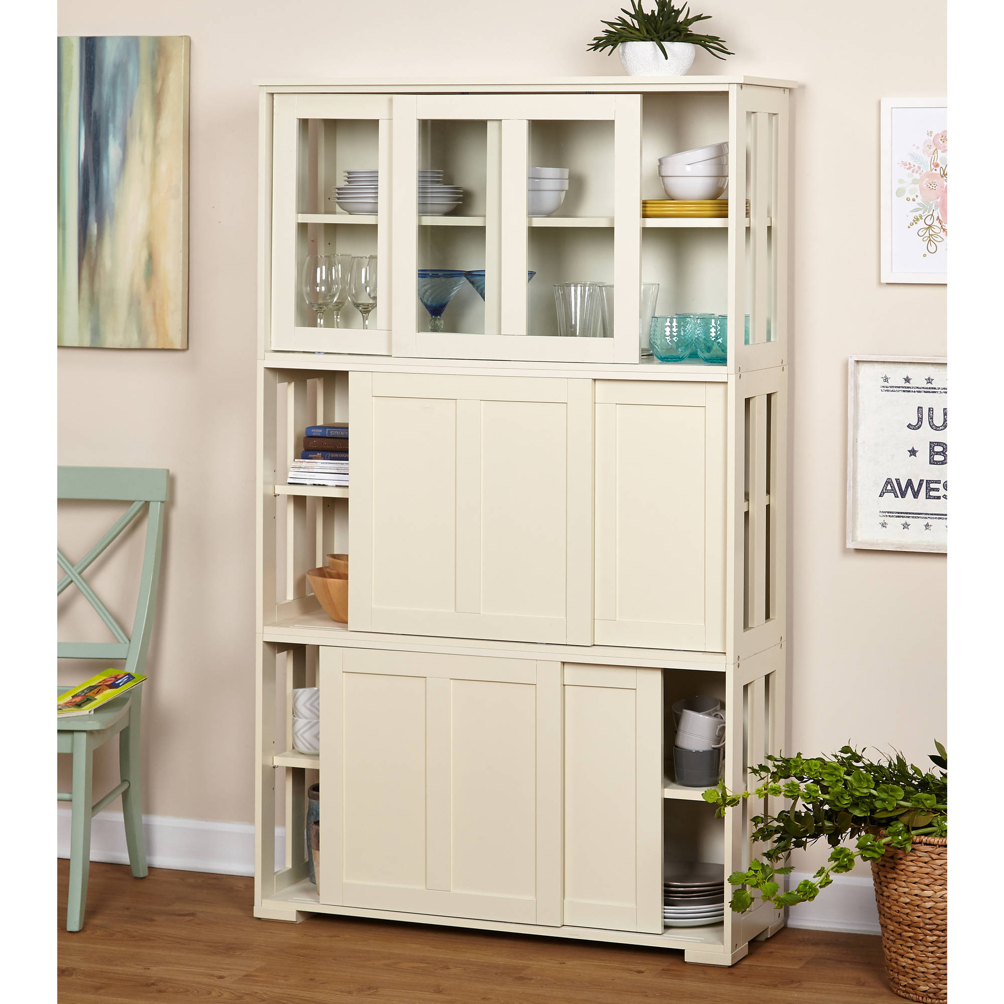 White Farmhouse Sliding Door Cabinet: Sliding Wood Doors Stackable Storage Cabinet, Multiple