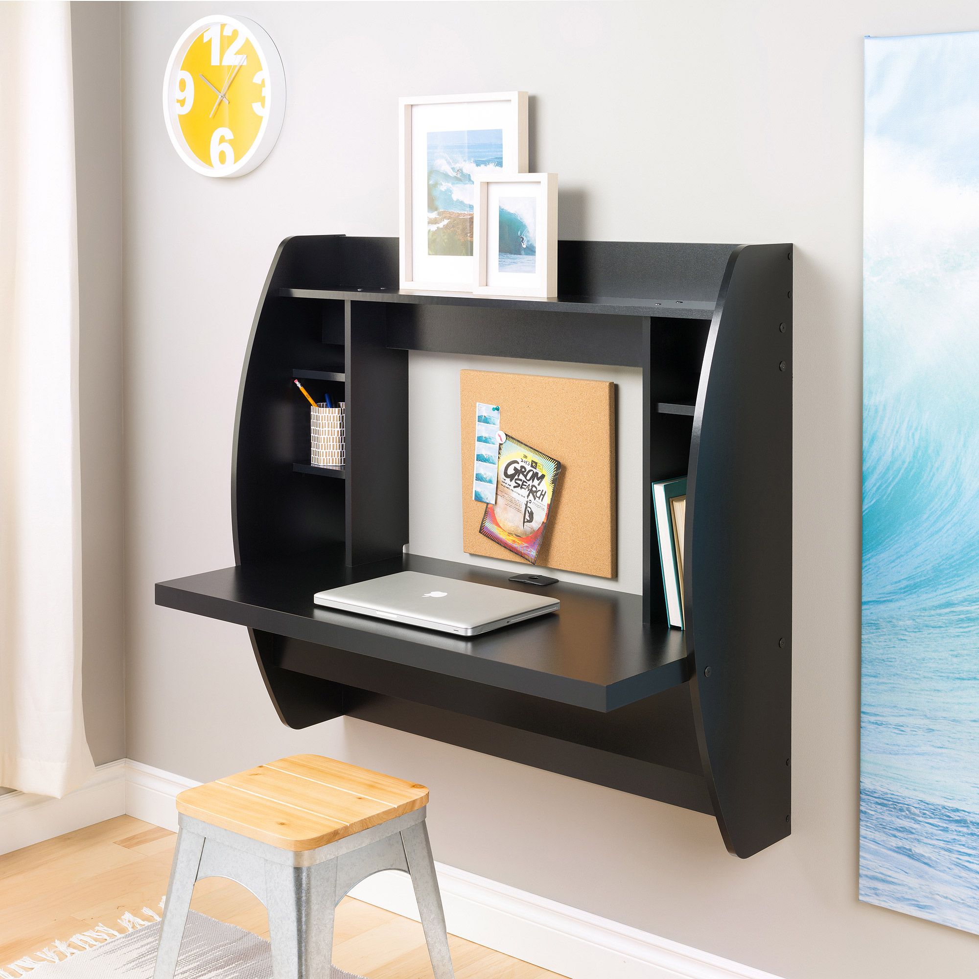 Image Is Loading Prepac Tall Wall Hanging Desk