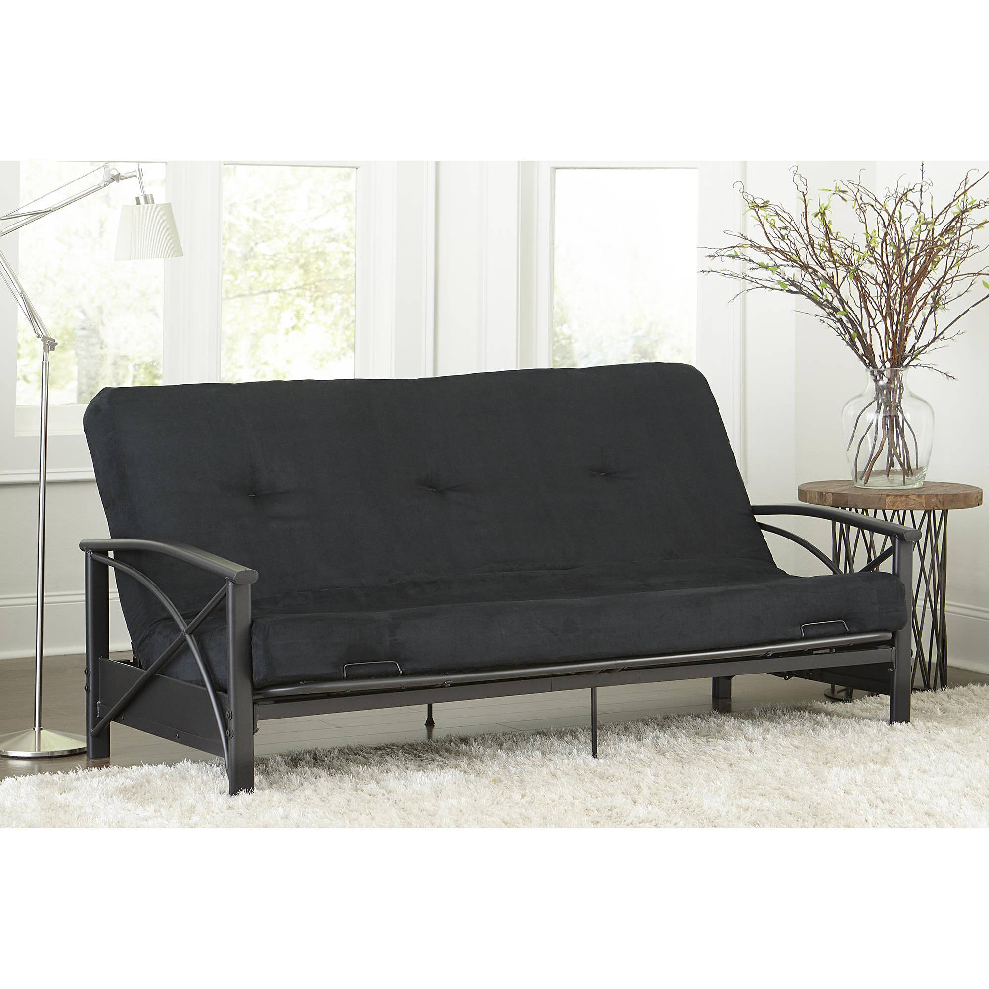 Black Metal Futon With 6 Mattress Full Size Convertible Sleeper Monaco Design
