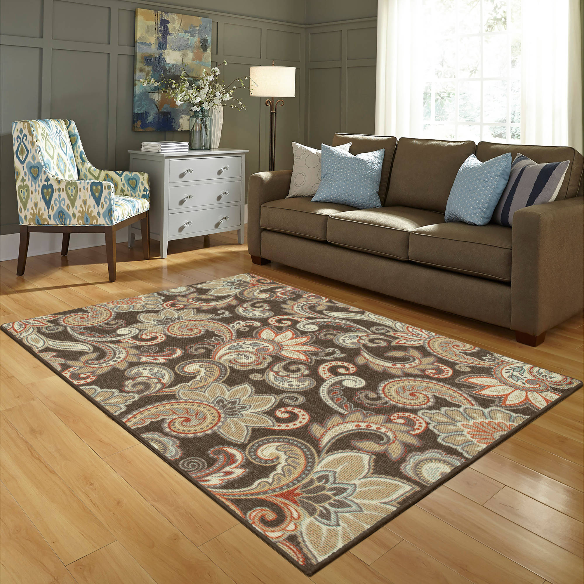 Better Homes and Gardens Brown Paisley Berber Printed Area Rug | eBay