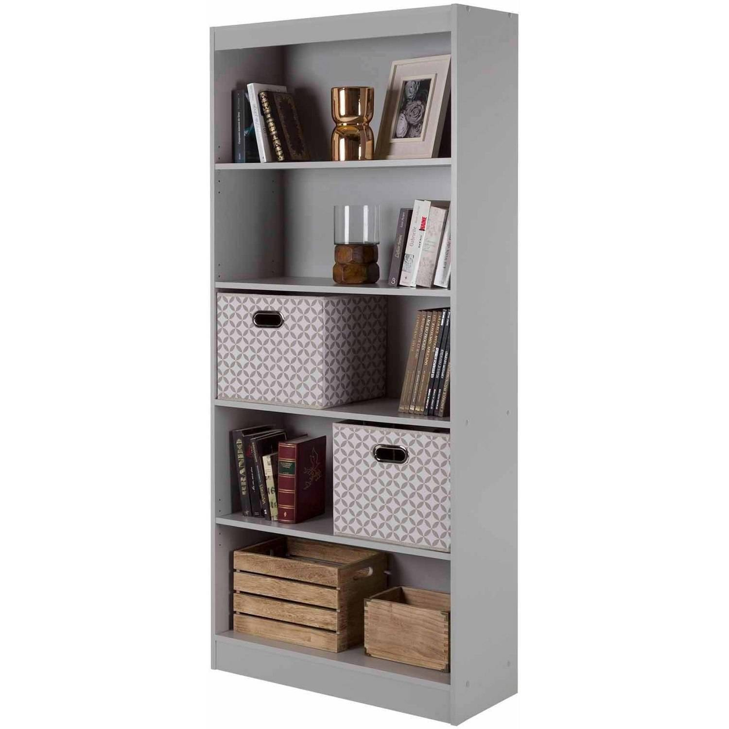 South Shore Axess 5 Shelf Bookcase Pure White And Turquoise