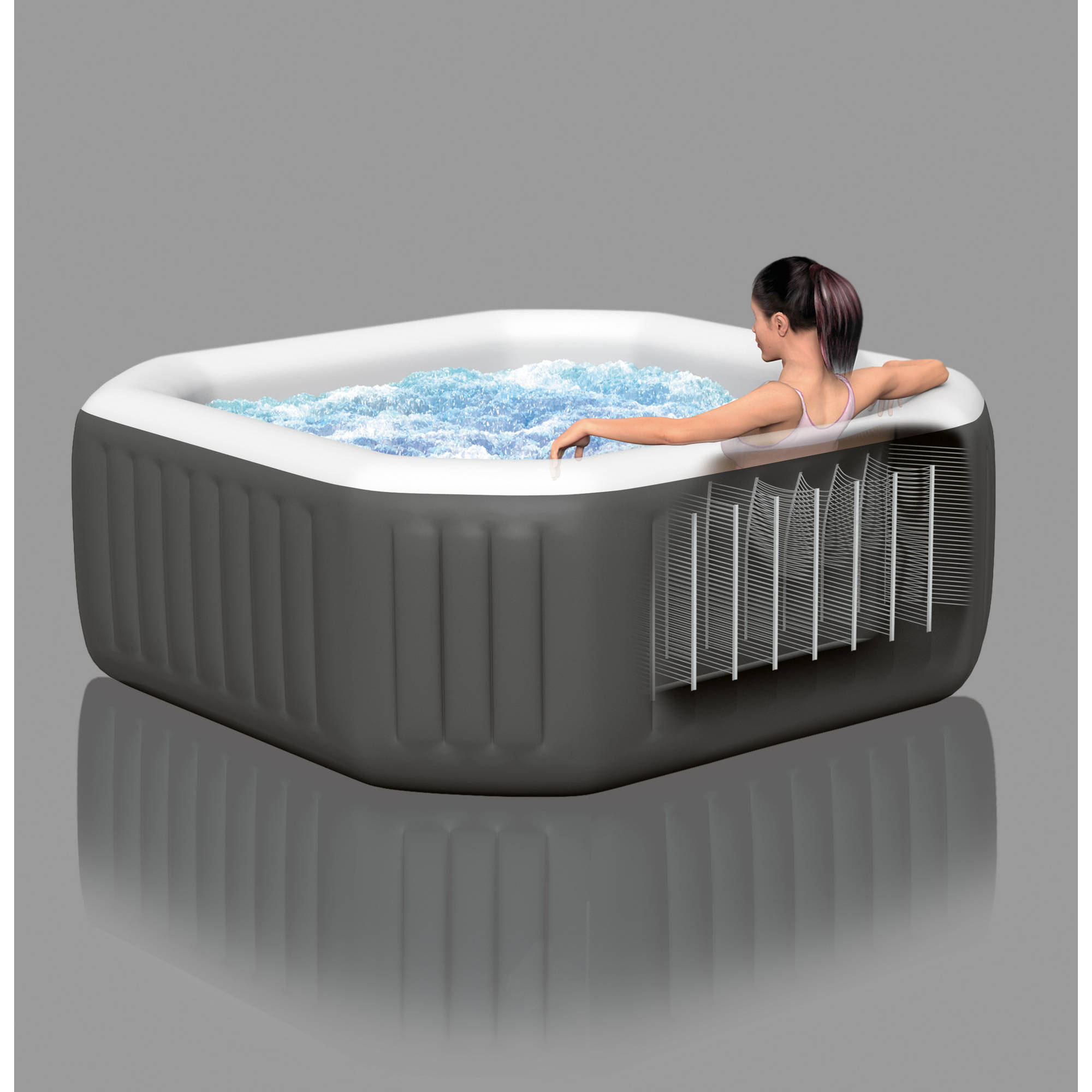 Jacuzzi Hot Tub Portable Bath Spa Heated Bubble Jets 4 Person Water ...
