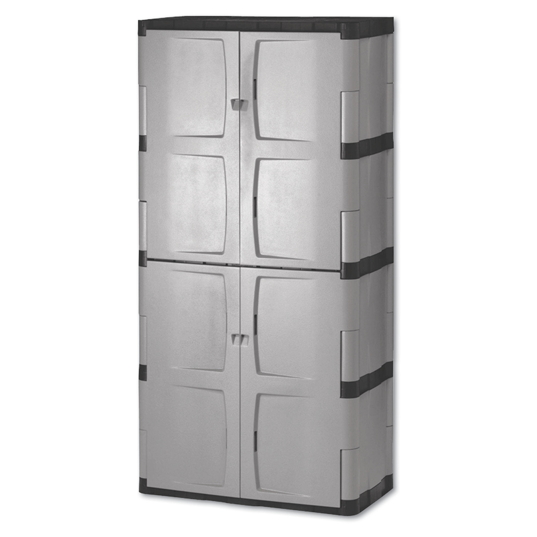 Details About Rubbermaid Double Door Storage Cabinet Base Top 36w X 18d 72h Gray Black