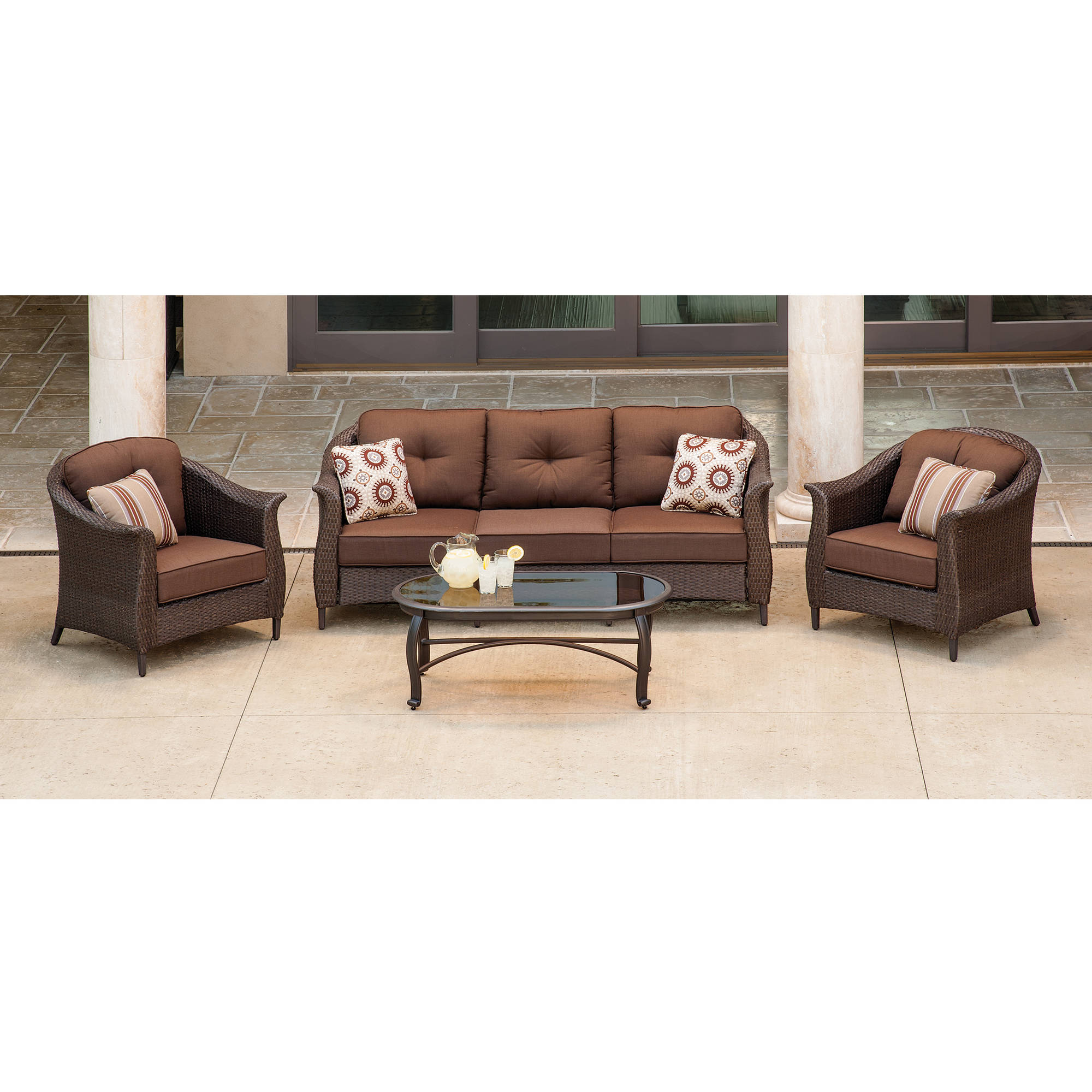 Details about hanover outdoor furniture gramercy 4 piece wicker patio seating set brown