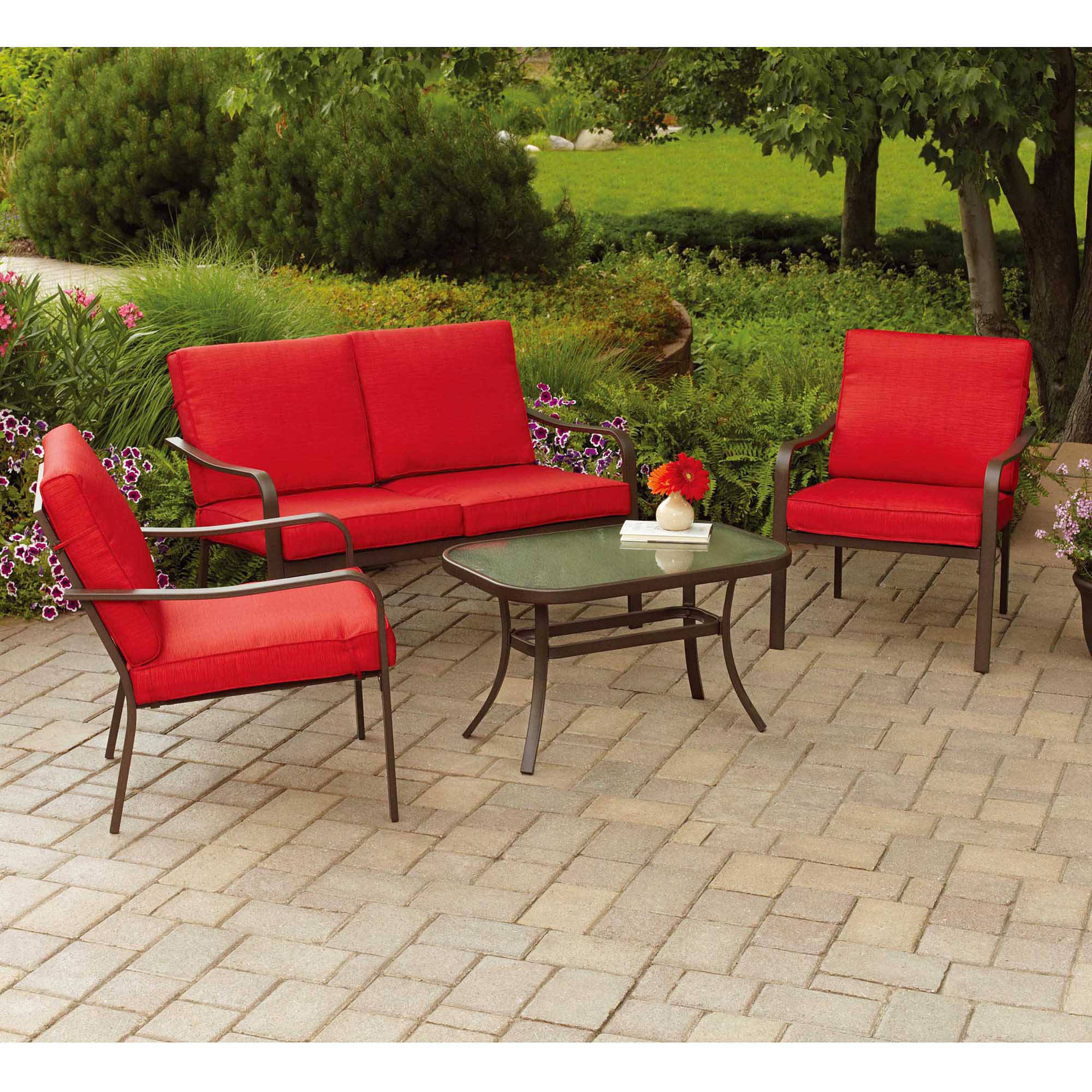 Details about mainstays stanton cushioned 4 piece patio conversation set seats 4