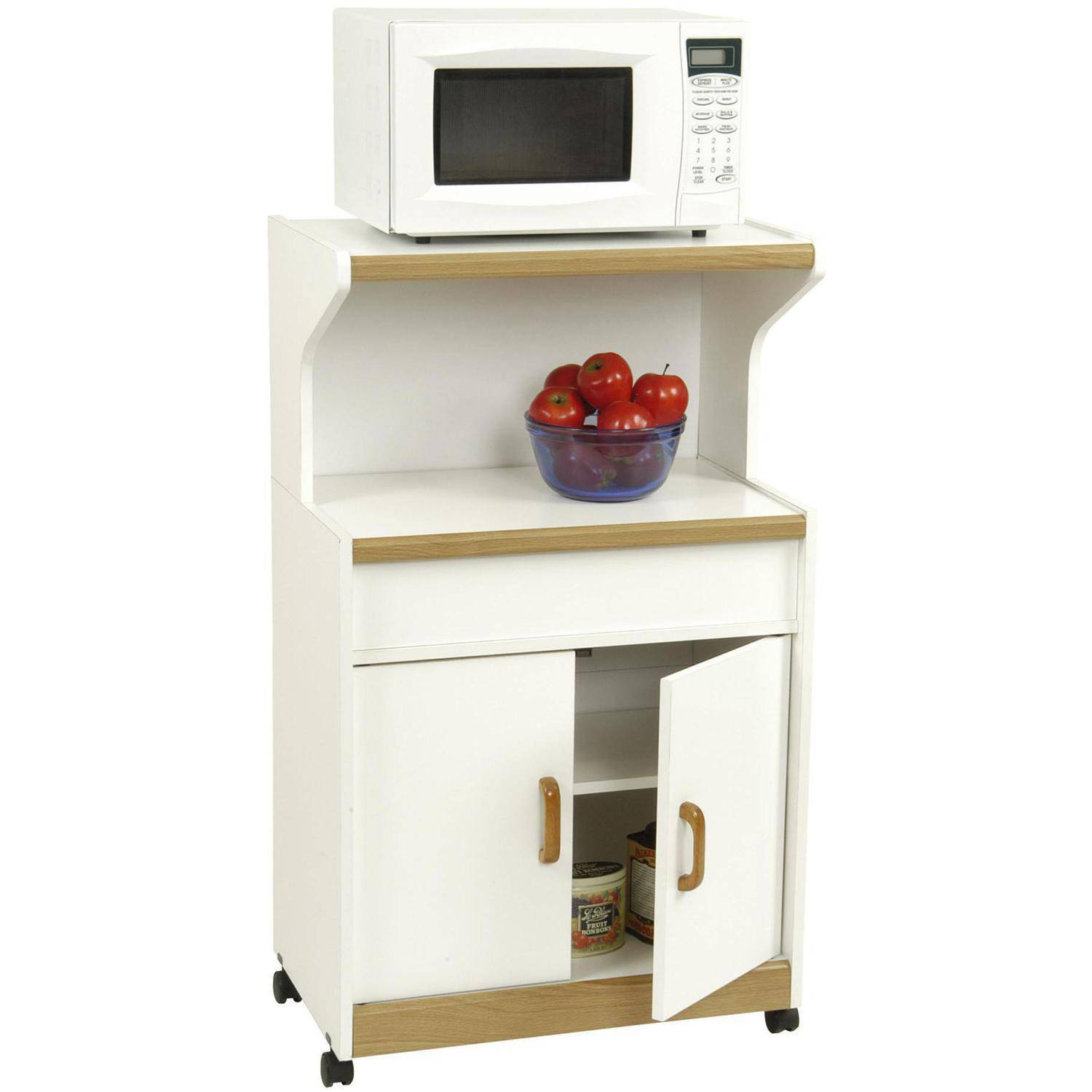 Ameriwood 4574GM Microwave Cart W Storage Cabinet Space In
