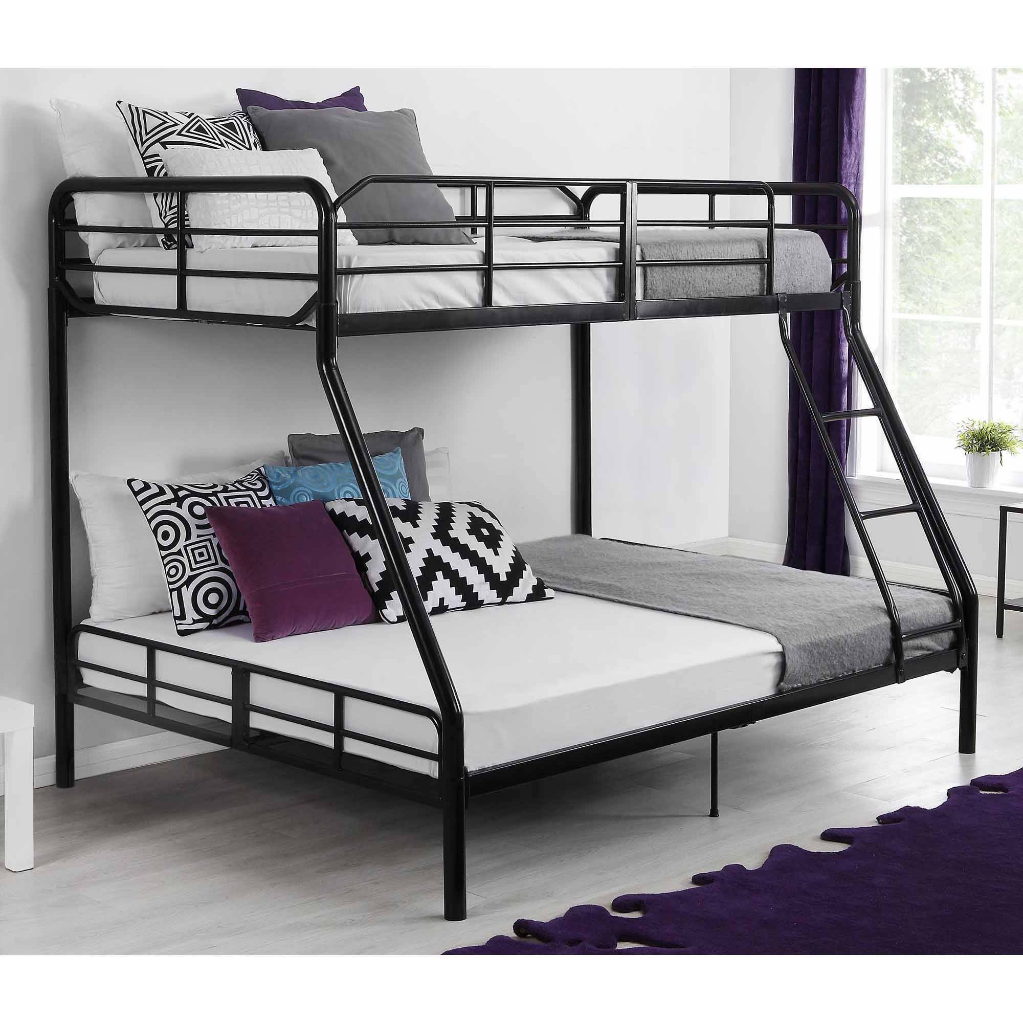 Details about Twin Over Full Metal Bunk Bed w/ Ladder Kids Bedroom  Furniture Dorm Loft