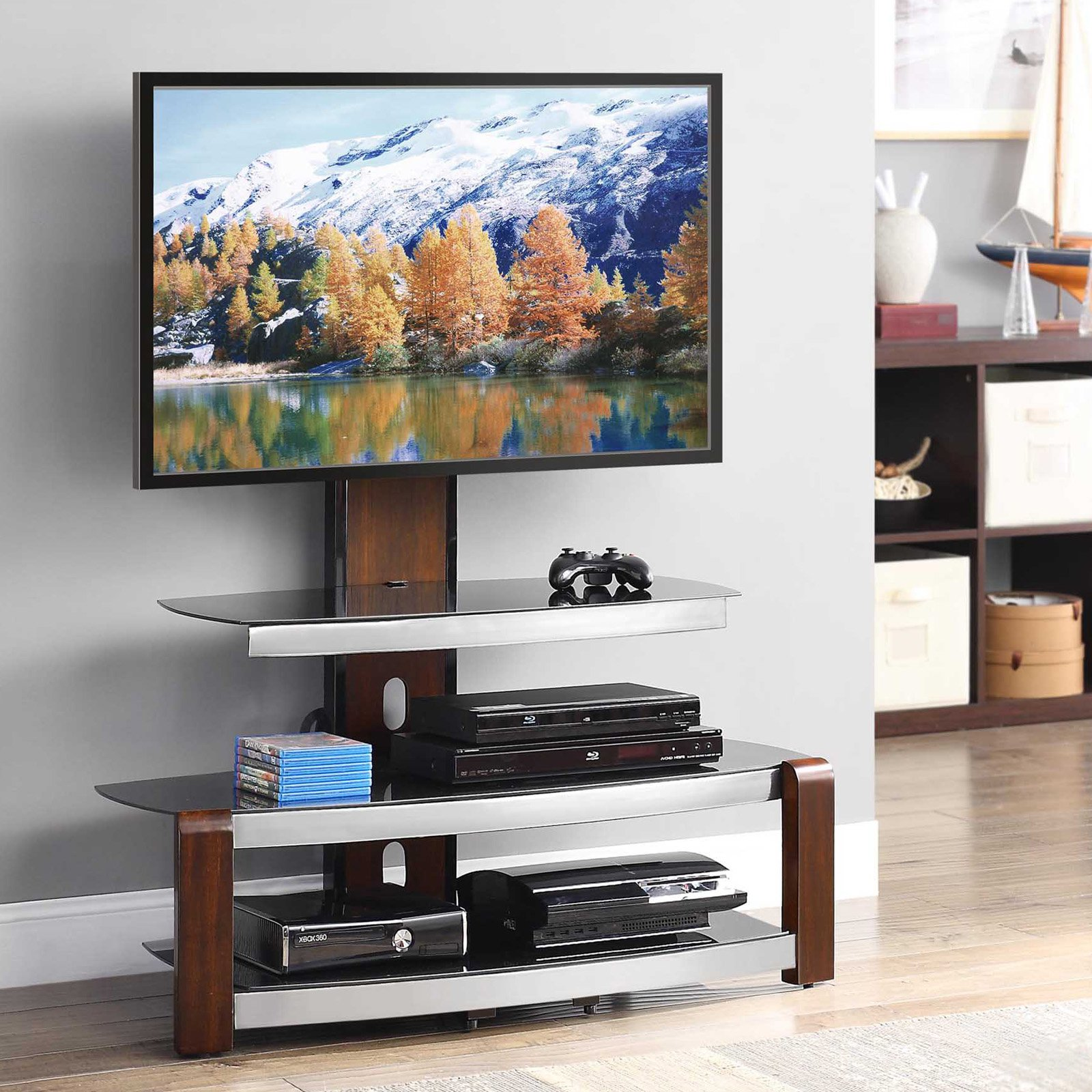 Whalen Swinging Tv Stand For Tvs Up To 47 Brown Cherry Ebay
