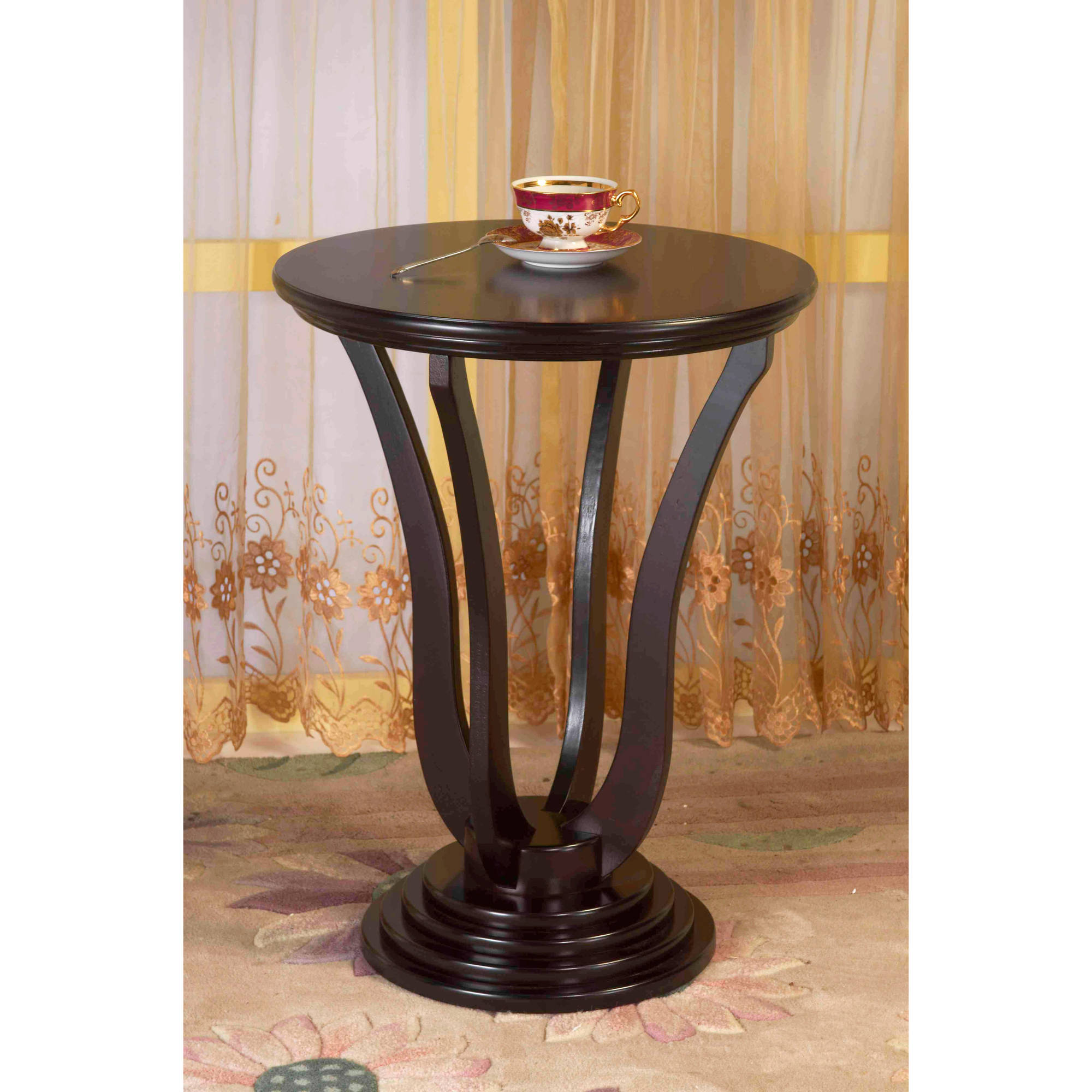 Details about home craft round end table espresso finish