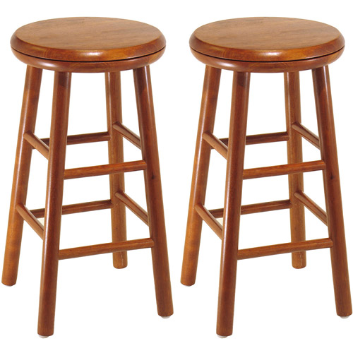 Wood Swivel Seat Bar Stool 25 Set Of 2 Cherry 793727354883 Ebay