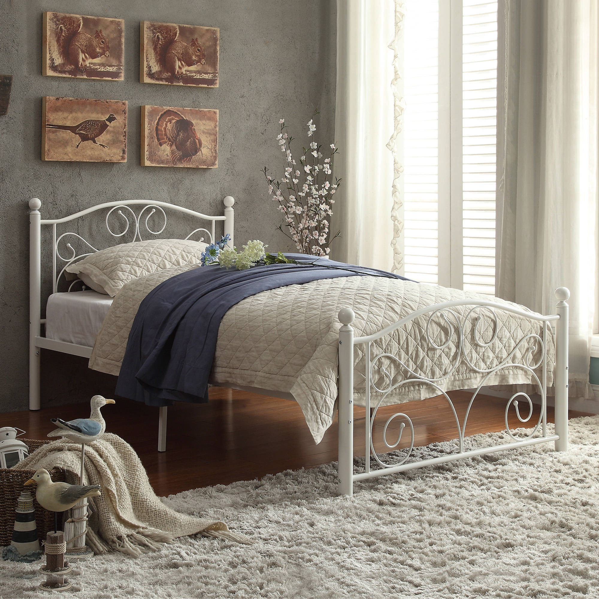 details metal white bedroom bed furniture itm about footboard frame headboard twin