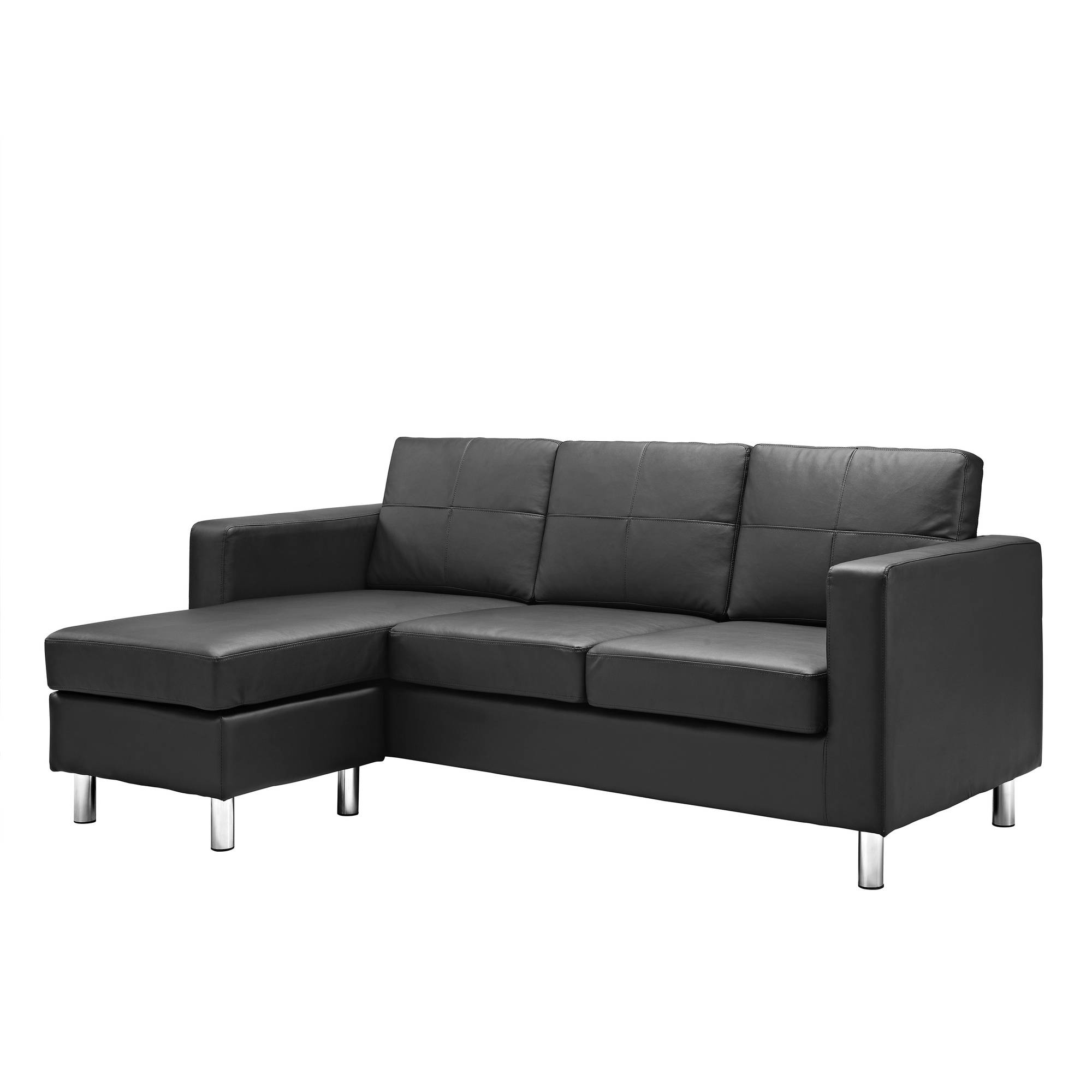 Small Faux Leather Sofa Bed: Small Spaces Configurable Sectional Sofa Black Couch