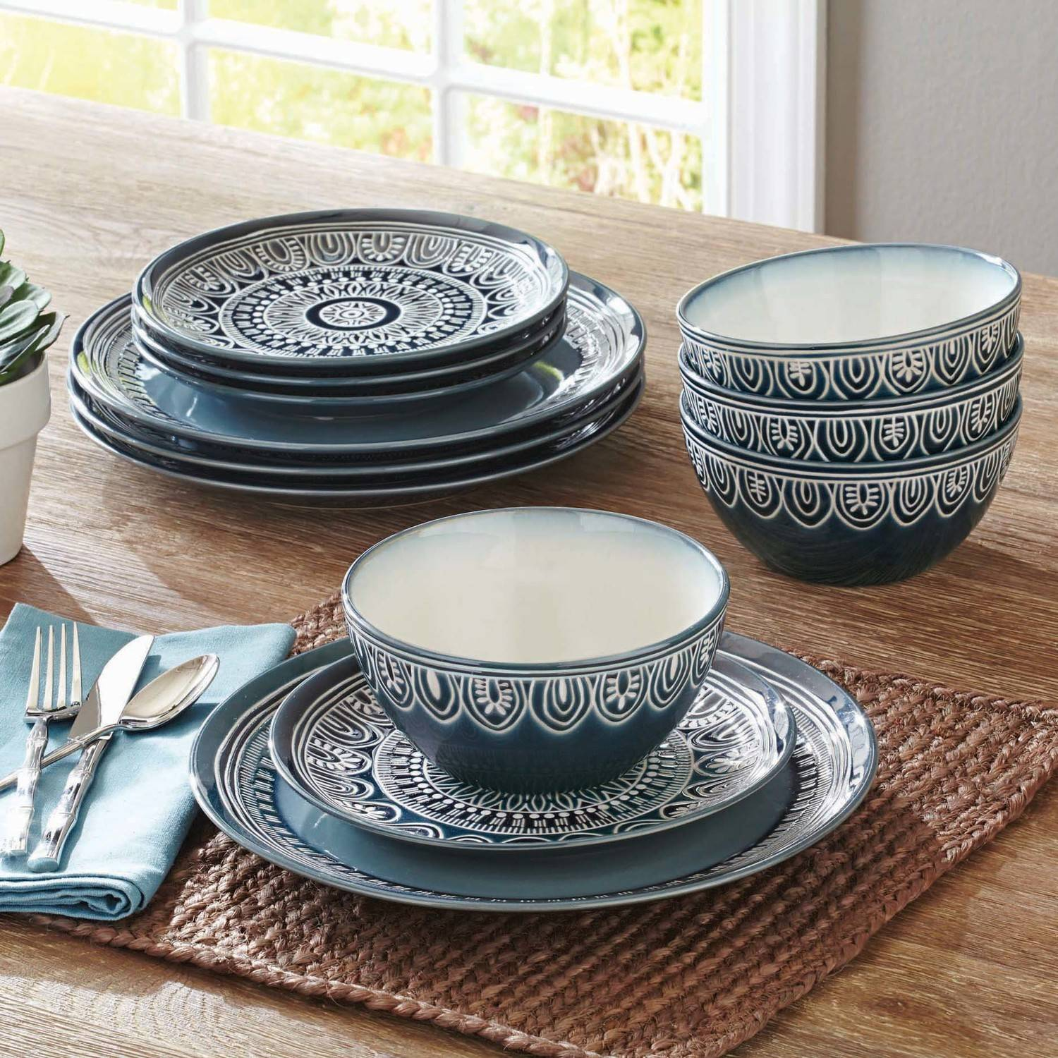 Better homes gardens teal medallion 12 piece dinnerware - Better homes and gardens dish sets ...