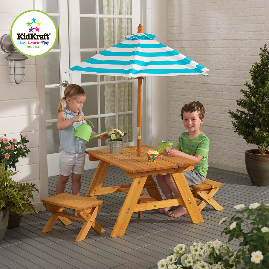 KidKraft Outdoor Table with Benches and Umbrella, Turquoise and White - KidKraft Outdoor Table With Benches And Umbrella, Turquoise And