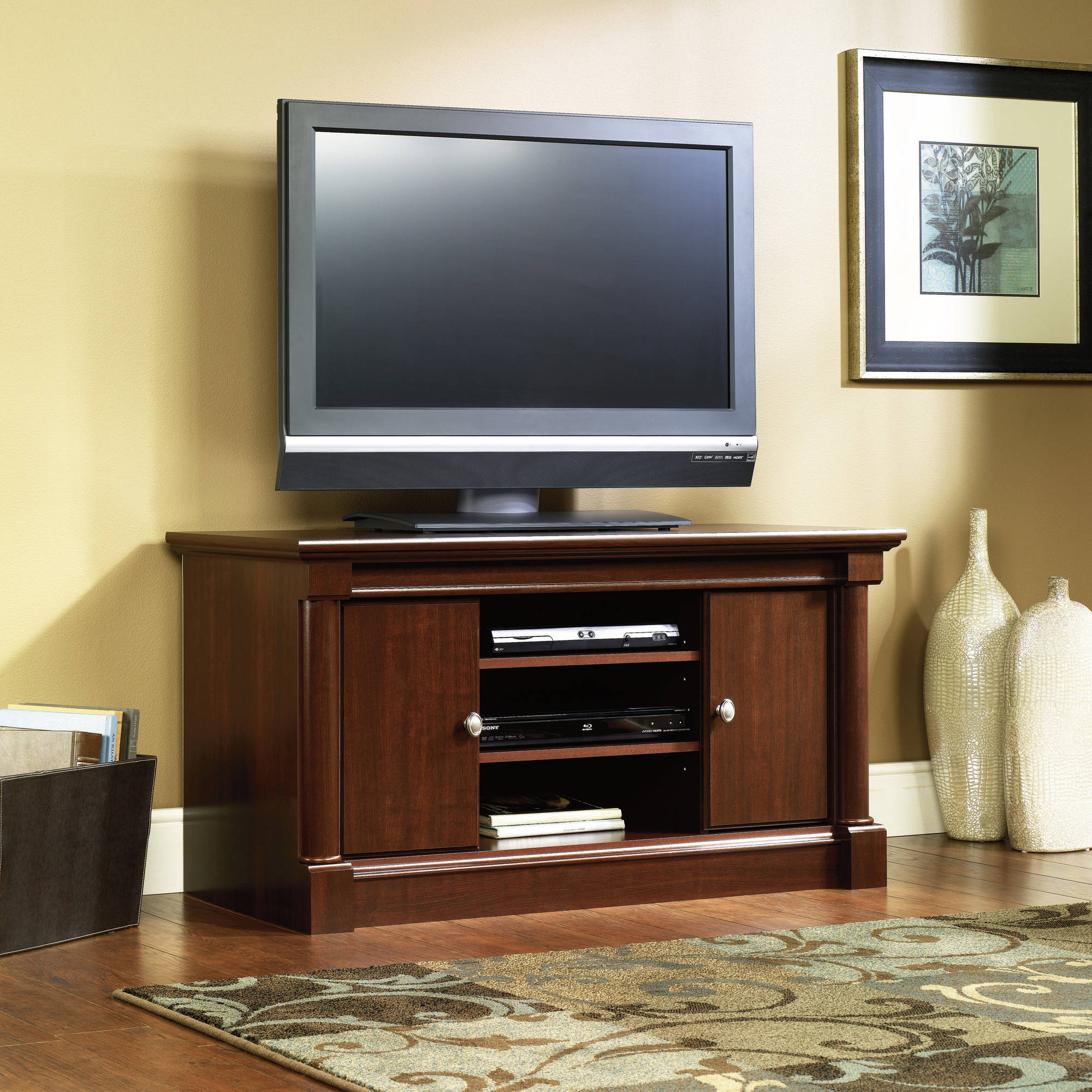 Cherry Tv Stand Entertainment Center With Storage Media Furniture Console 42 47