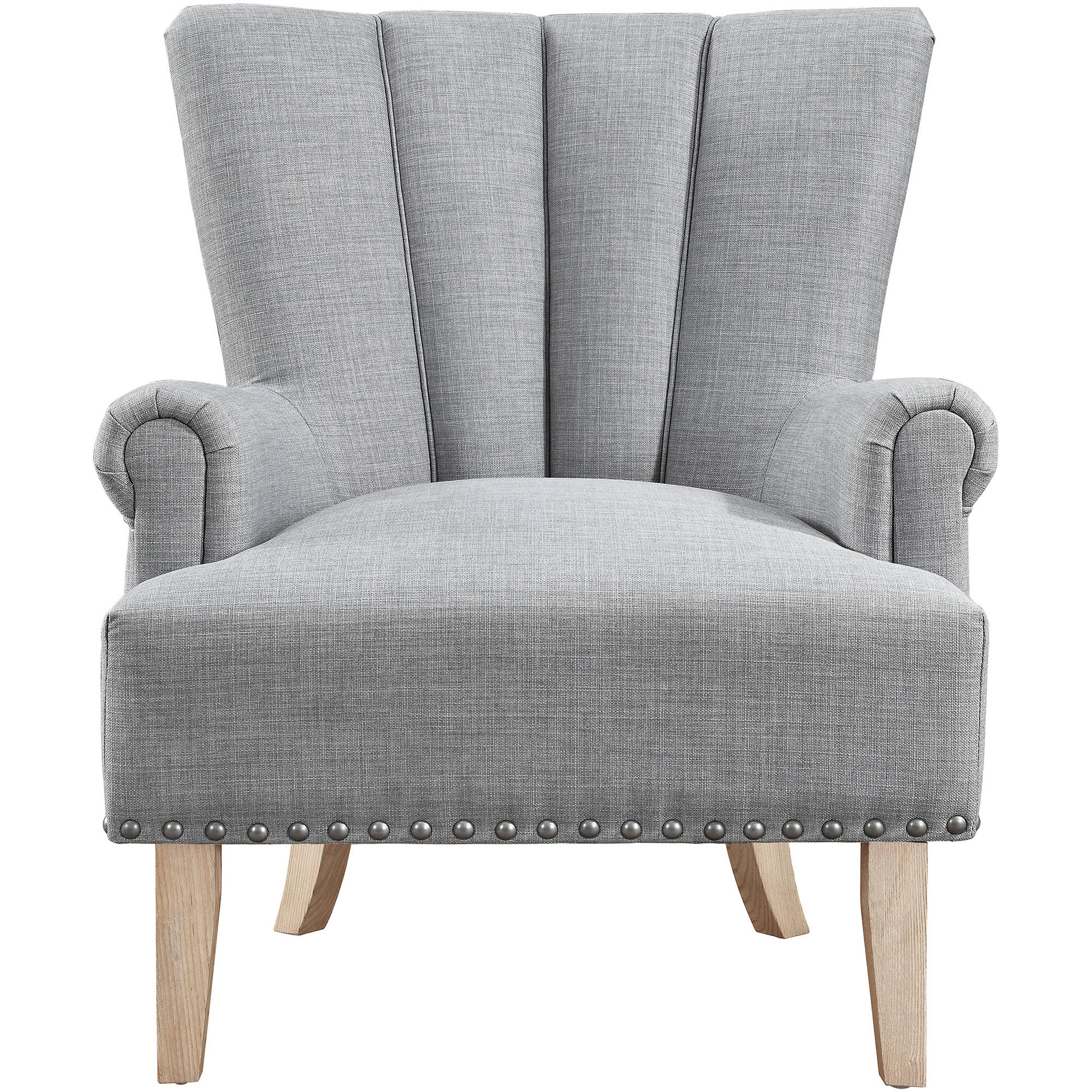 Accent Chair Roll Legs High End: Upholstered Accent Roll Arm Chair Silver Nailheads Wood