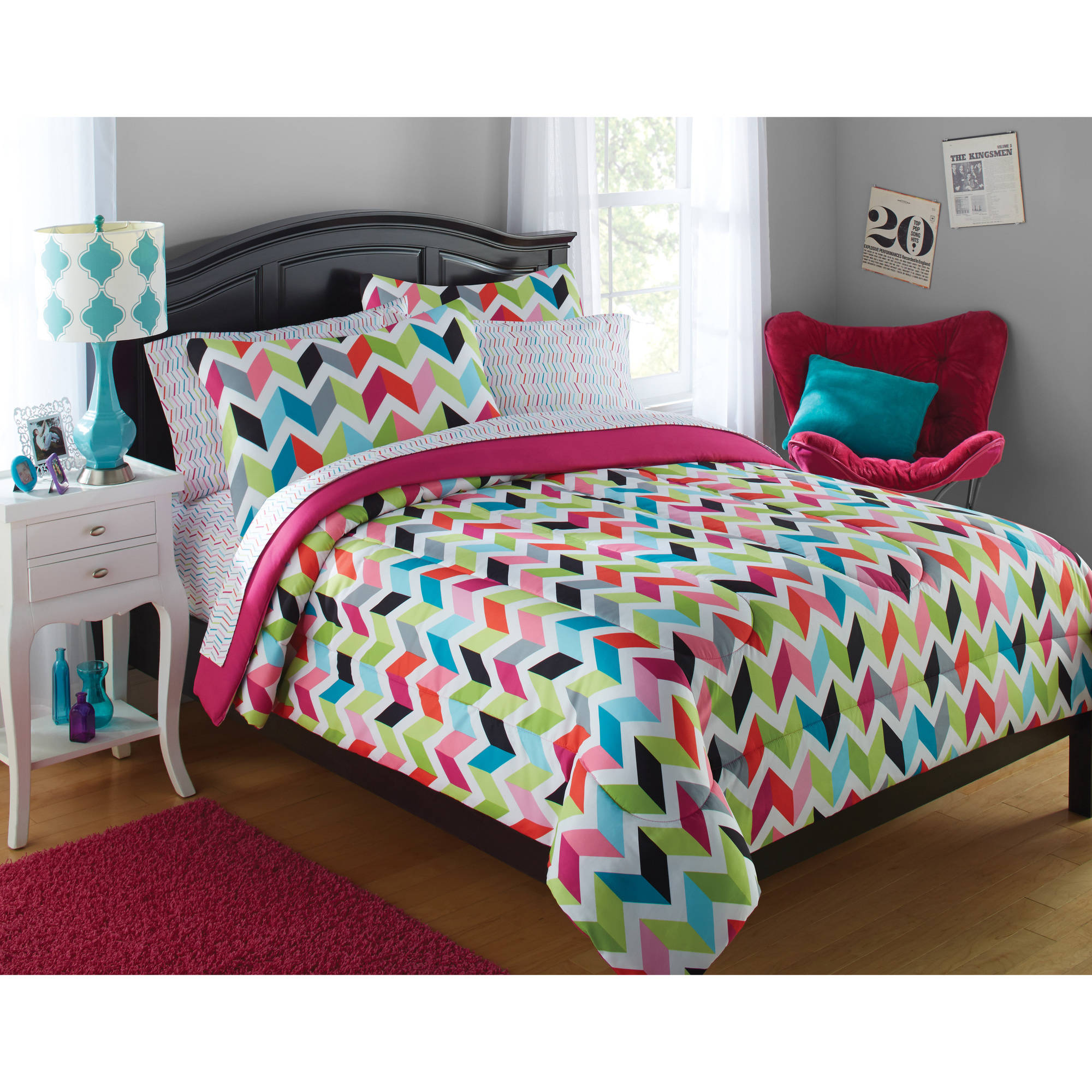 6 College Girl Bright Chevron Bedding Comforter Set Bed In A Bag