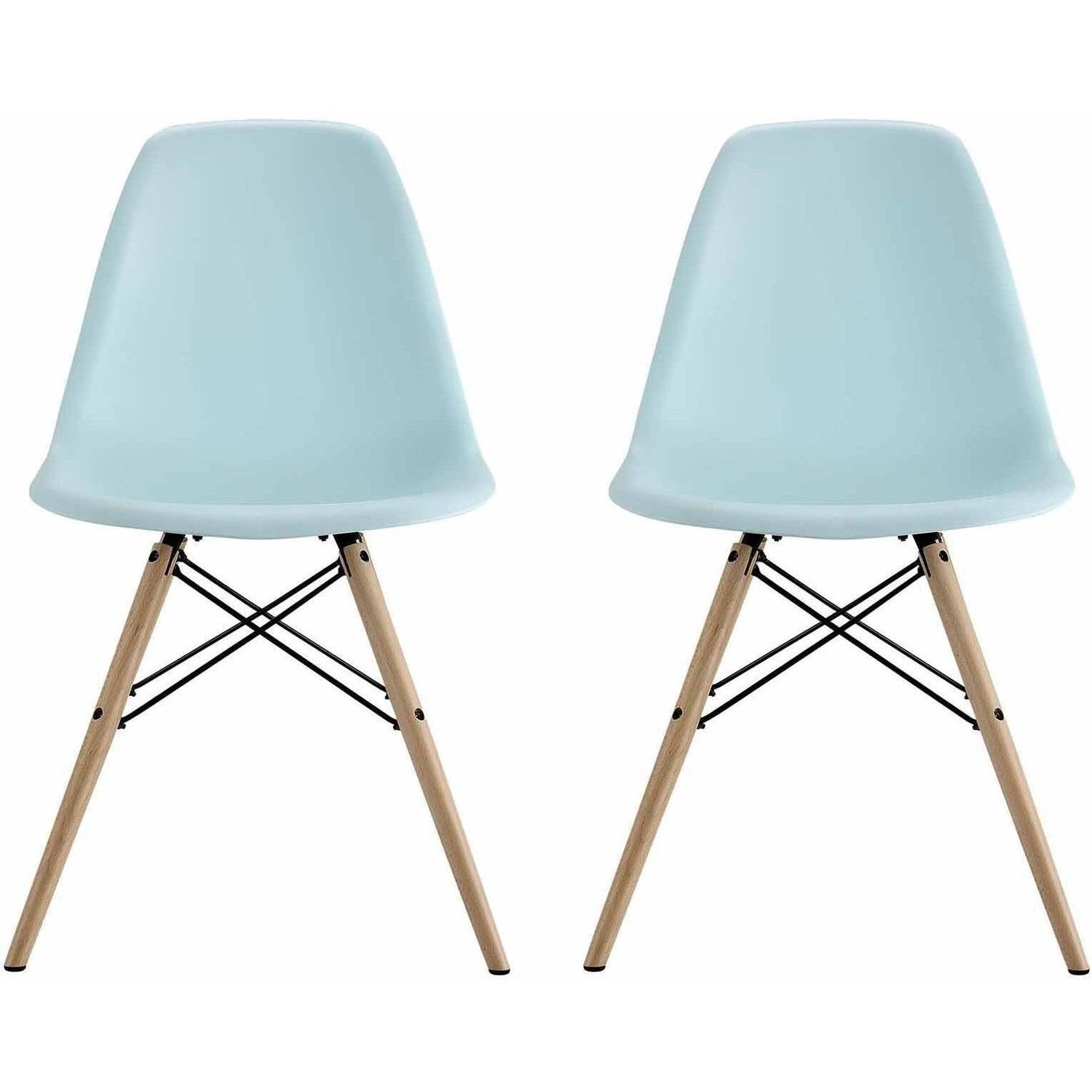 dhp mid century modern molded chair with wood leg set of 2 blue ebay