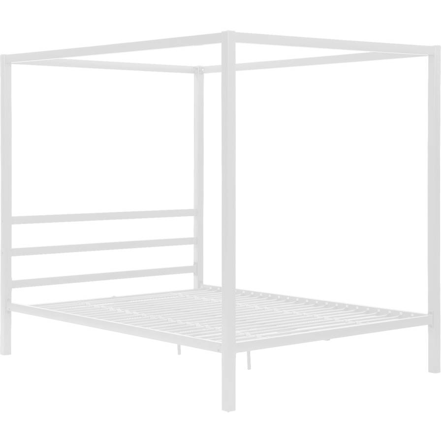 Modern Canopy Queen Metal Bed White Platform Bed Frame No Box