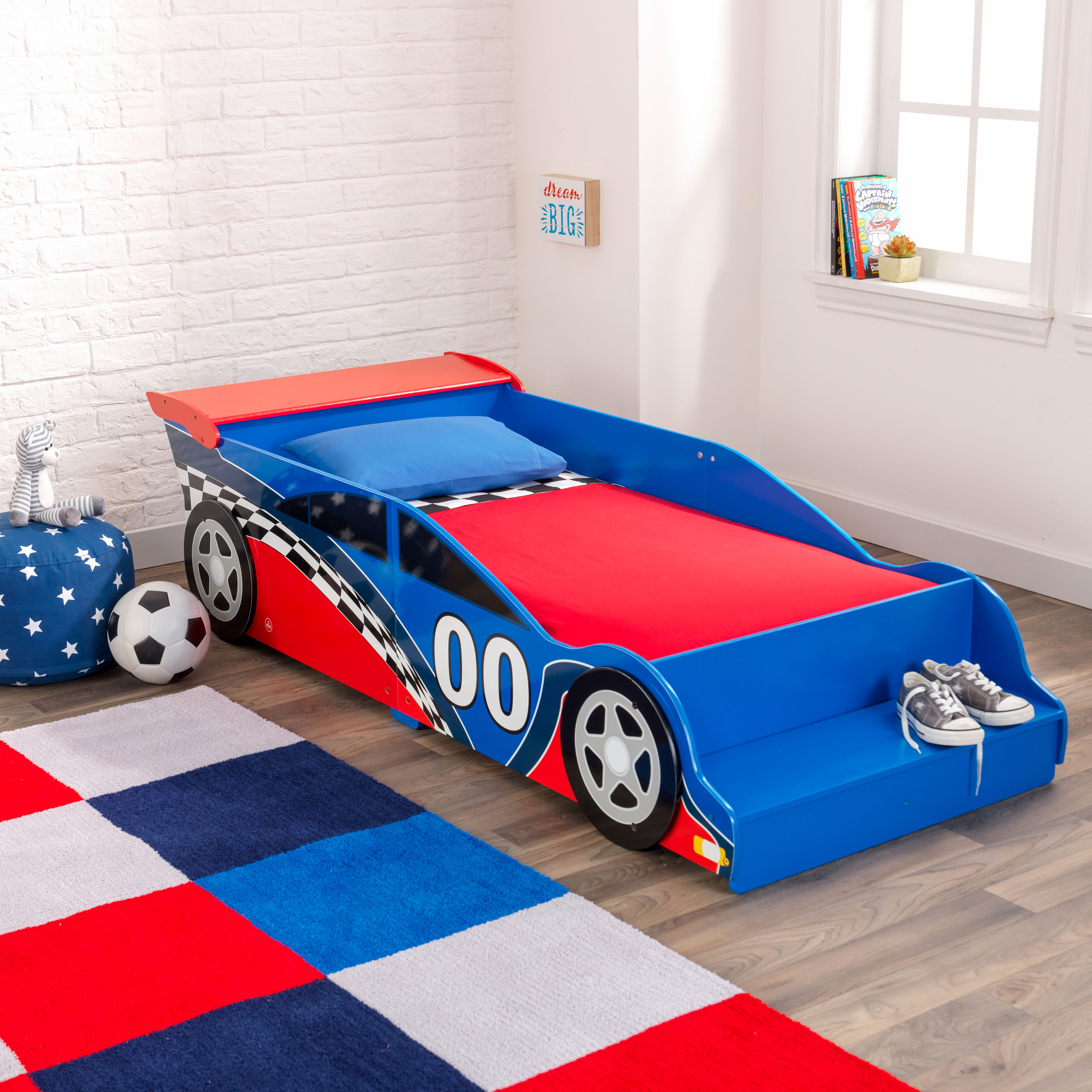 Kidkraft Wooden Race Car Toddler Bed Blue And Red With Bed Rails Ebay