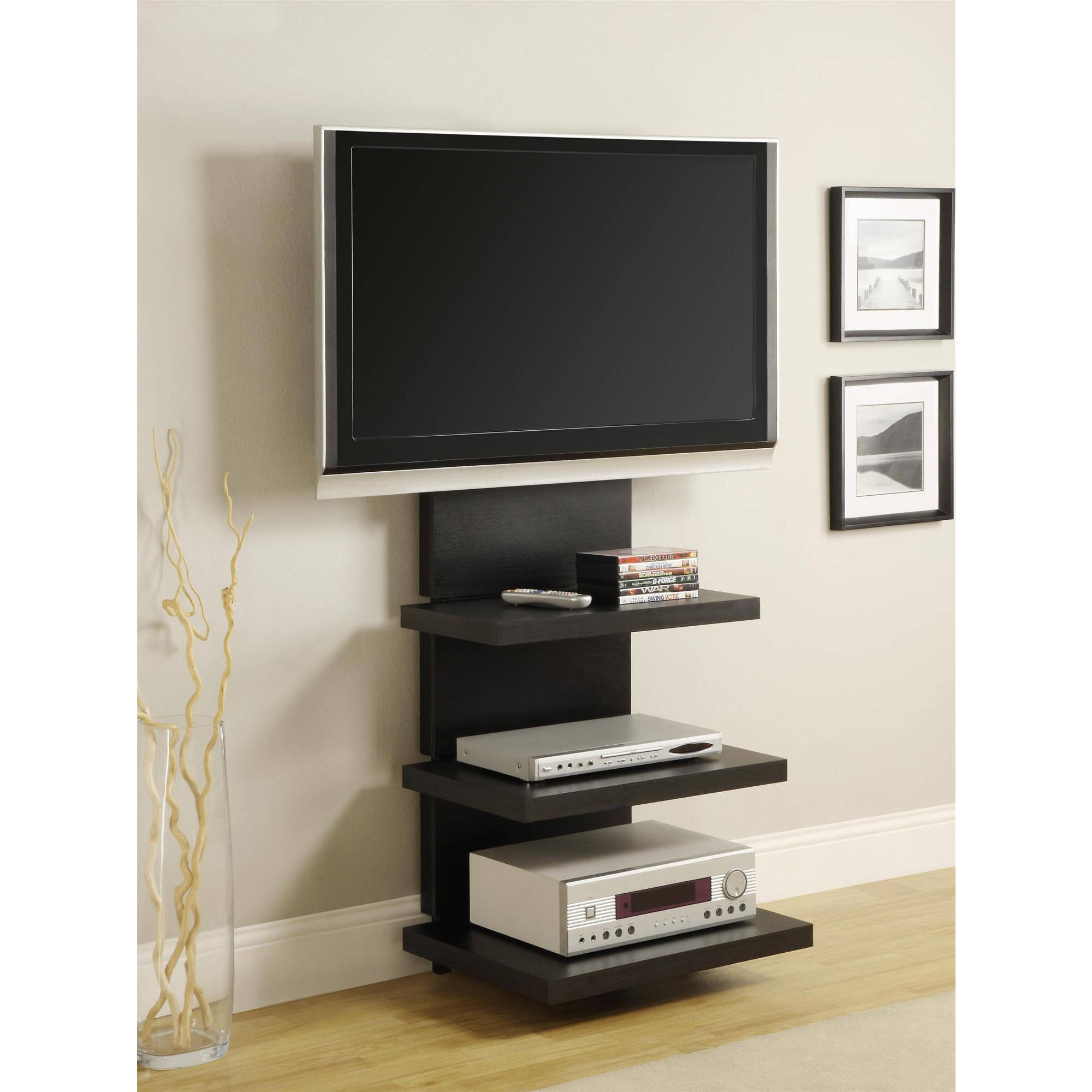 Image Is Loading Altra Wall Mount Tv Stand With 3 Shelves