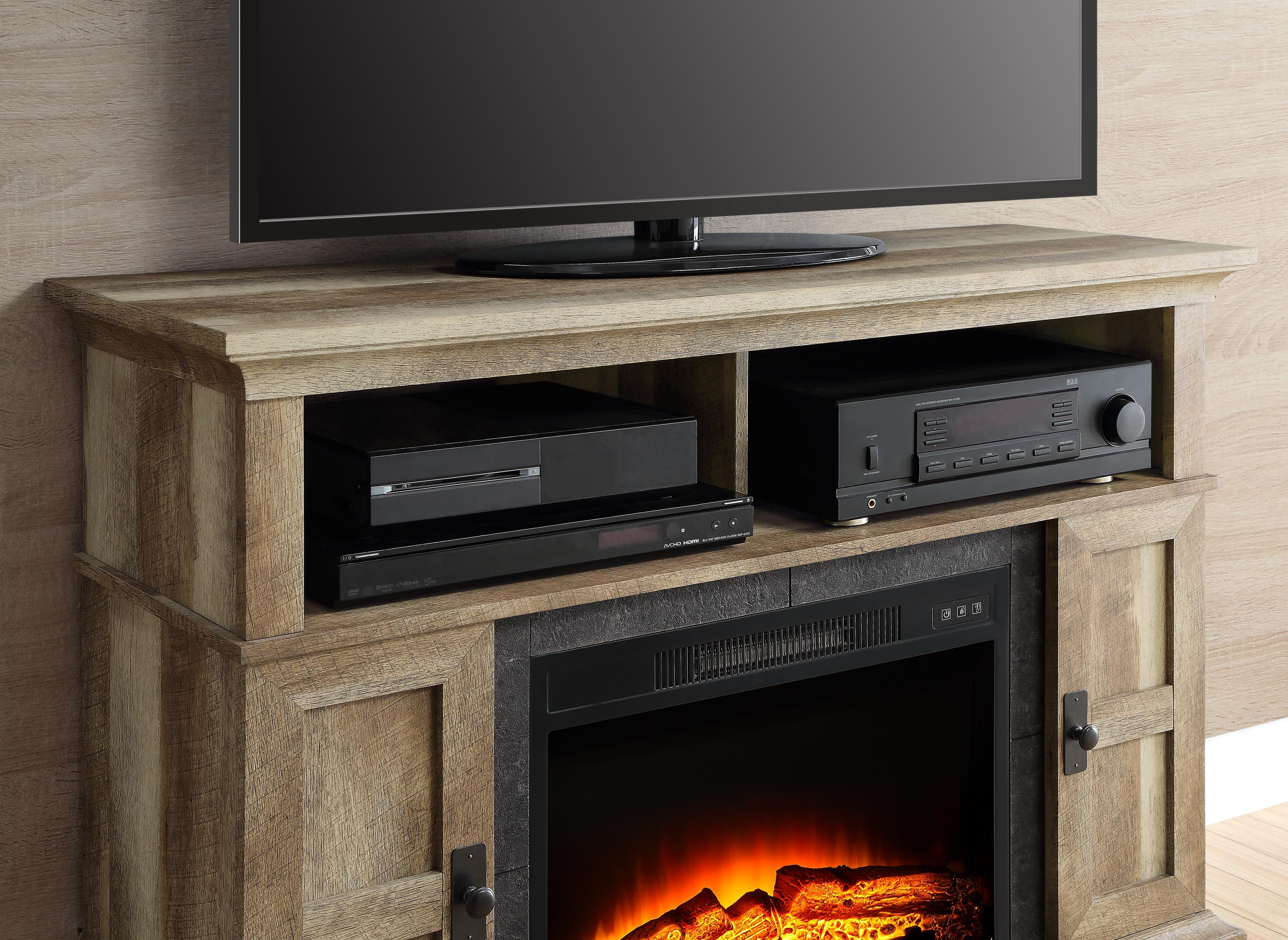 fireplace tv stand media entertainment wood console up to 55inch electric rustic ebay. Black Bedroom Furniture Sets. Home Design Ideas