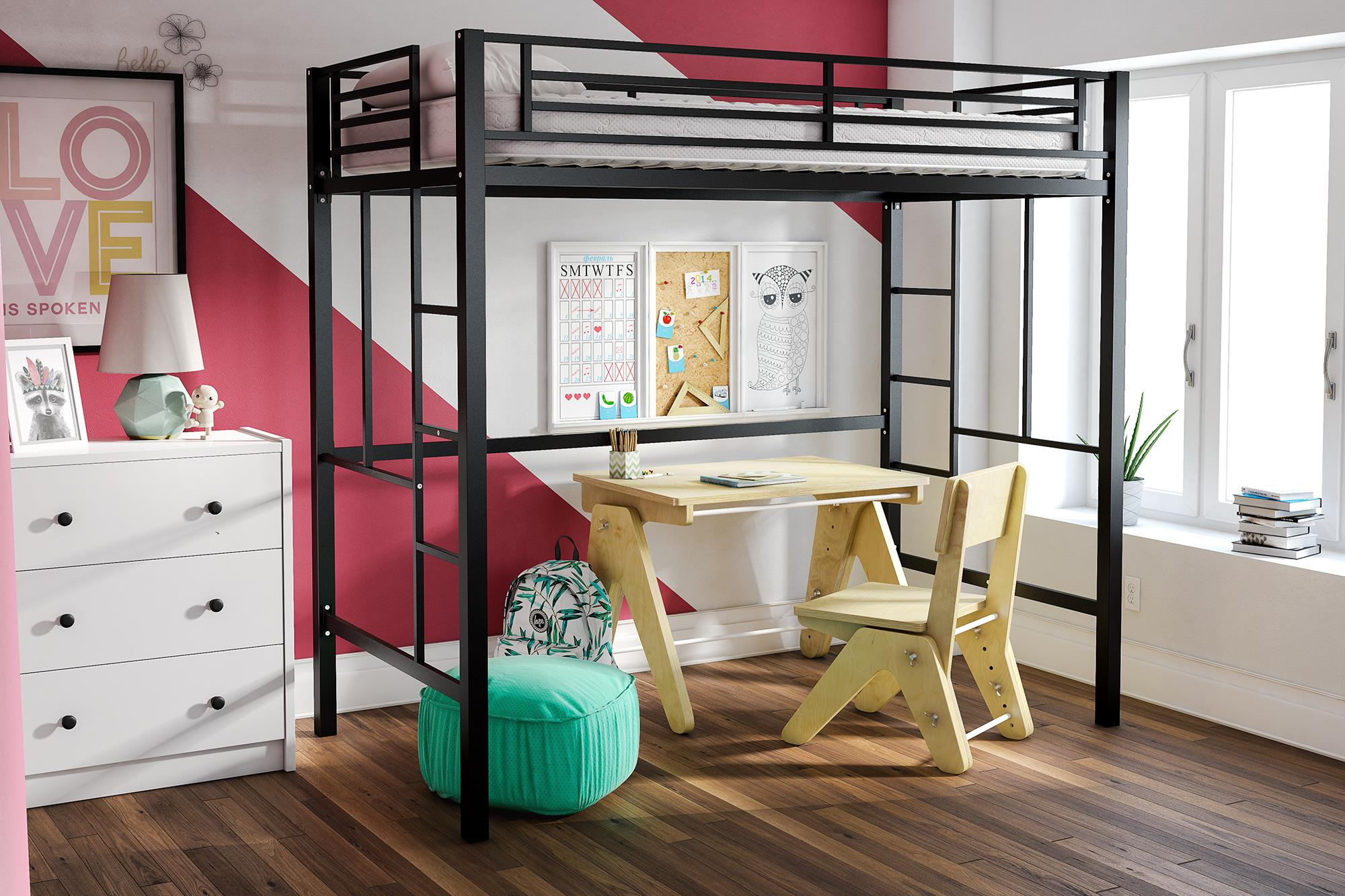 Picture of: 1pc Metal Loft Bed Twin Size Top Bunk Child Teen Space Bedroom Furniture Guest