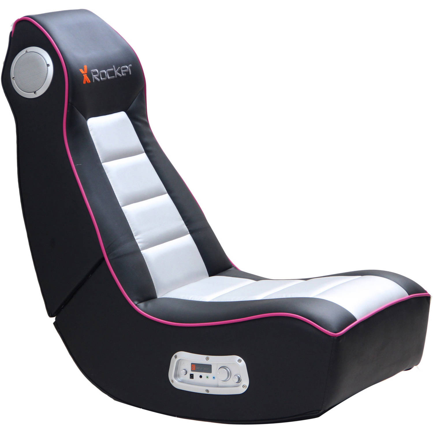 x rocker 2 1 wired audio gaming chair black pink ebay. Black Bedroom Furniture Sets. Home Design Ideas