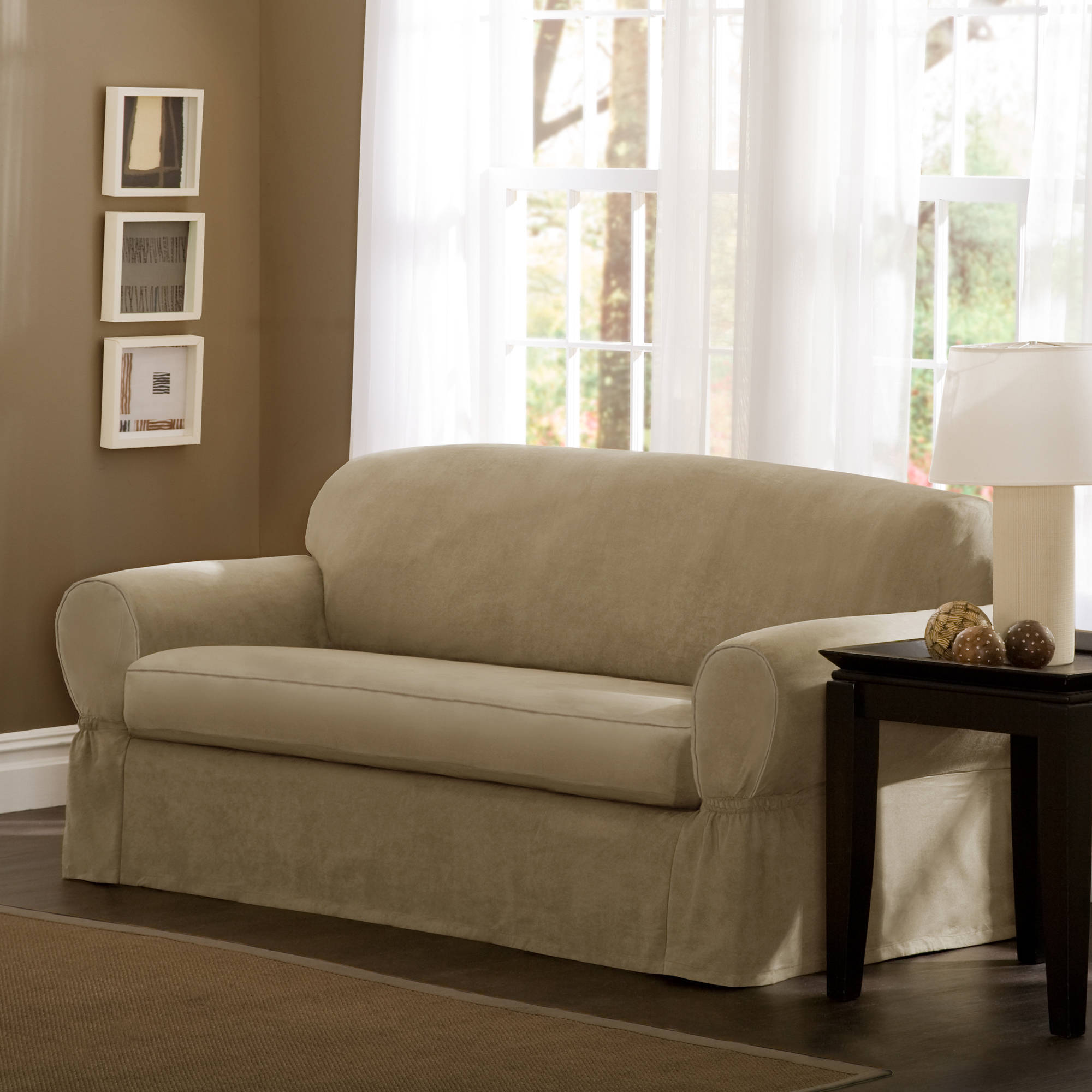 Maytex Piped Faux Suede Non Stretch 2 Piece Sofa Slipcover Ebay